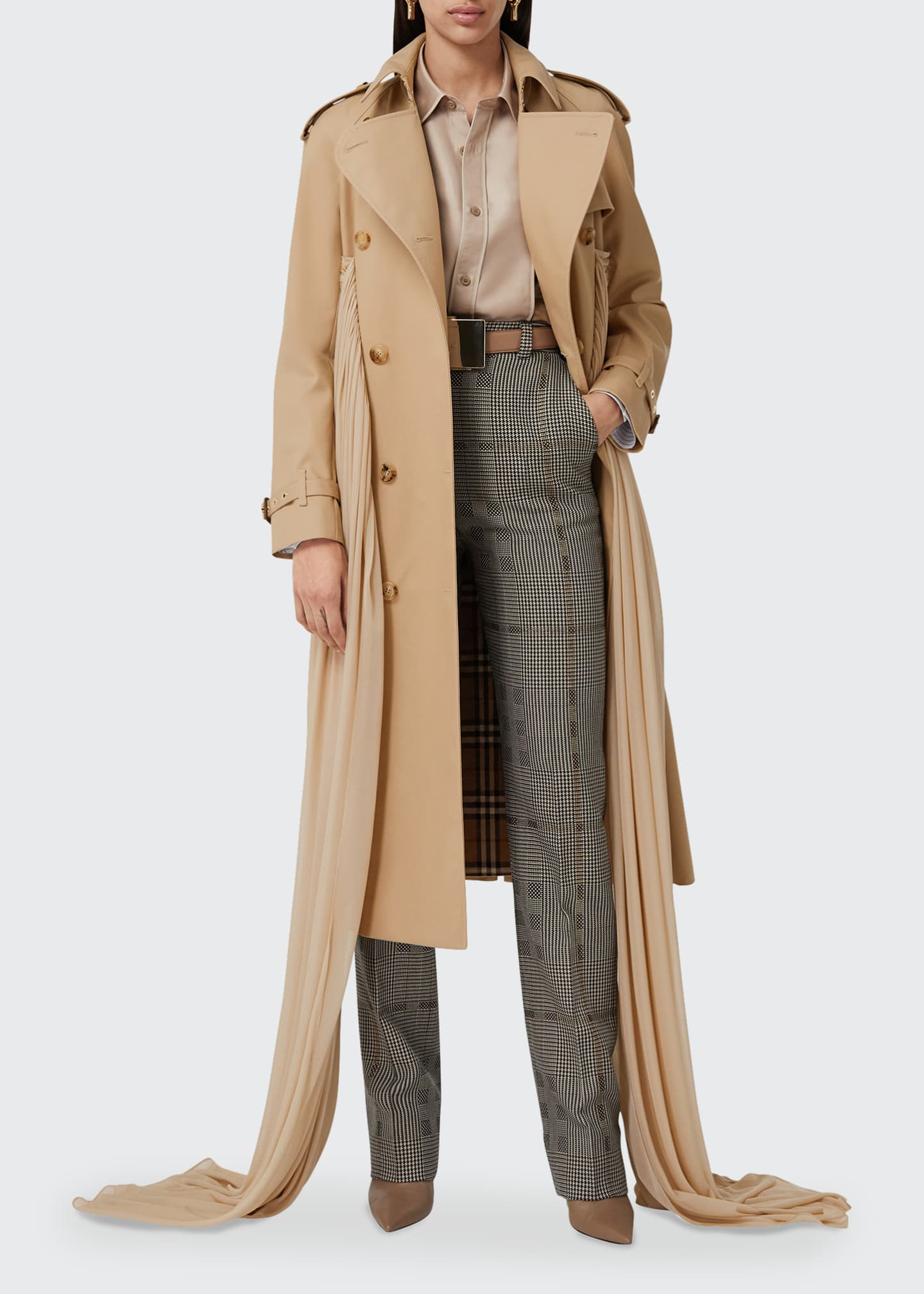 Image 1 of 5: Double-Breasted Cotton Belted Trench Coat