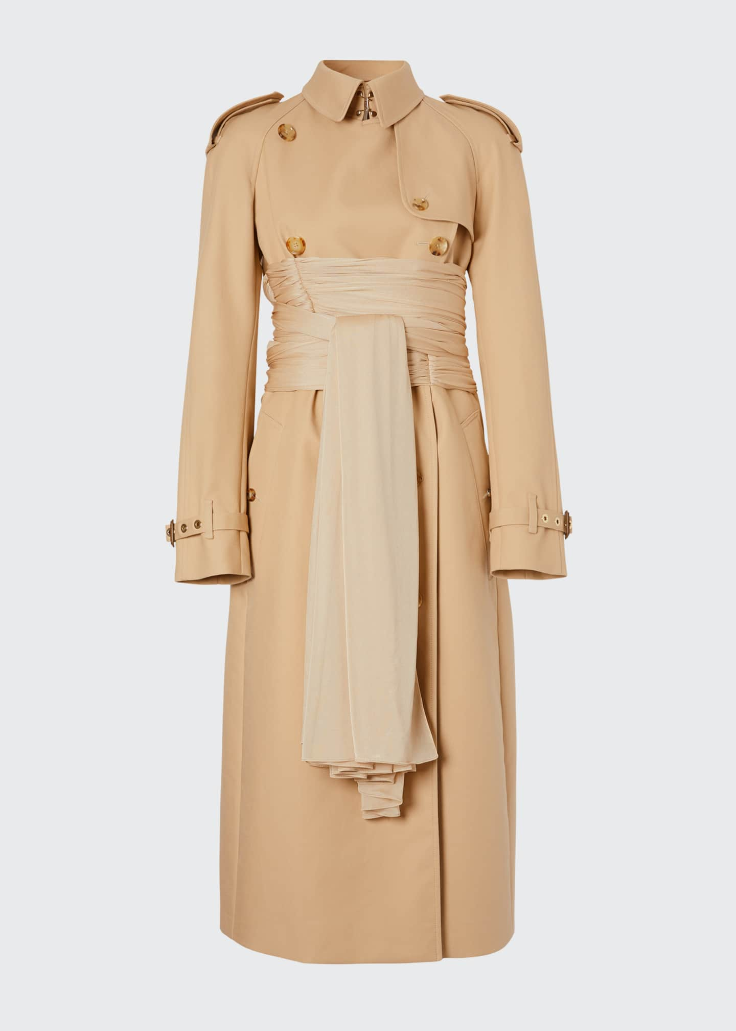 Image 5 of 5: Double-Breasted Cotton Belted Trench Coat