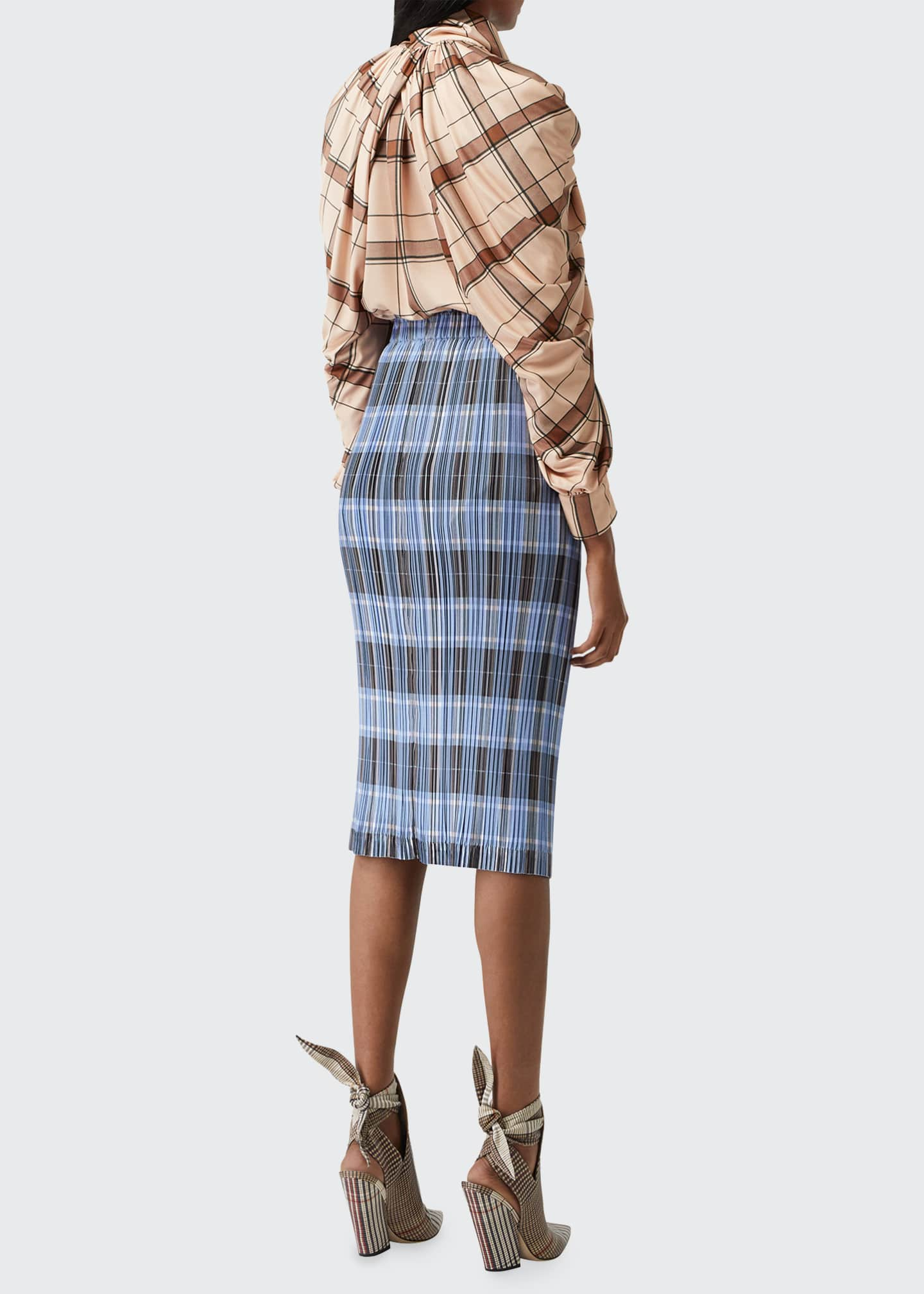 Image 2 of 5: Allover Plisse Pleated Check Pencil Skirt
