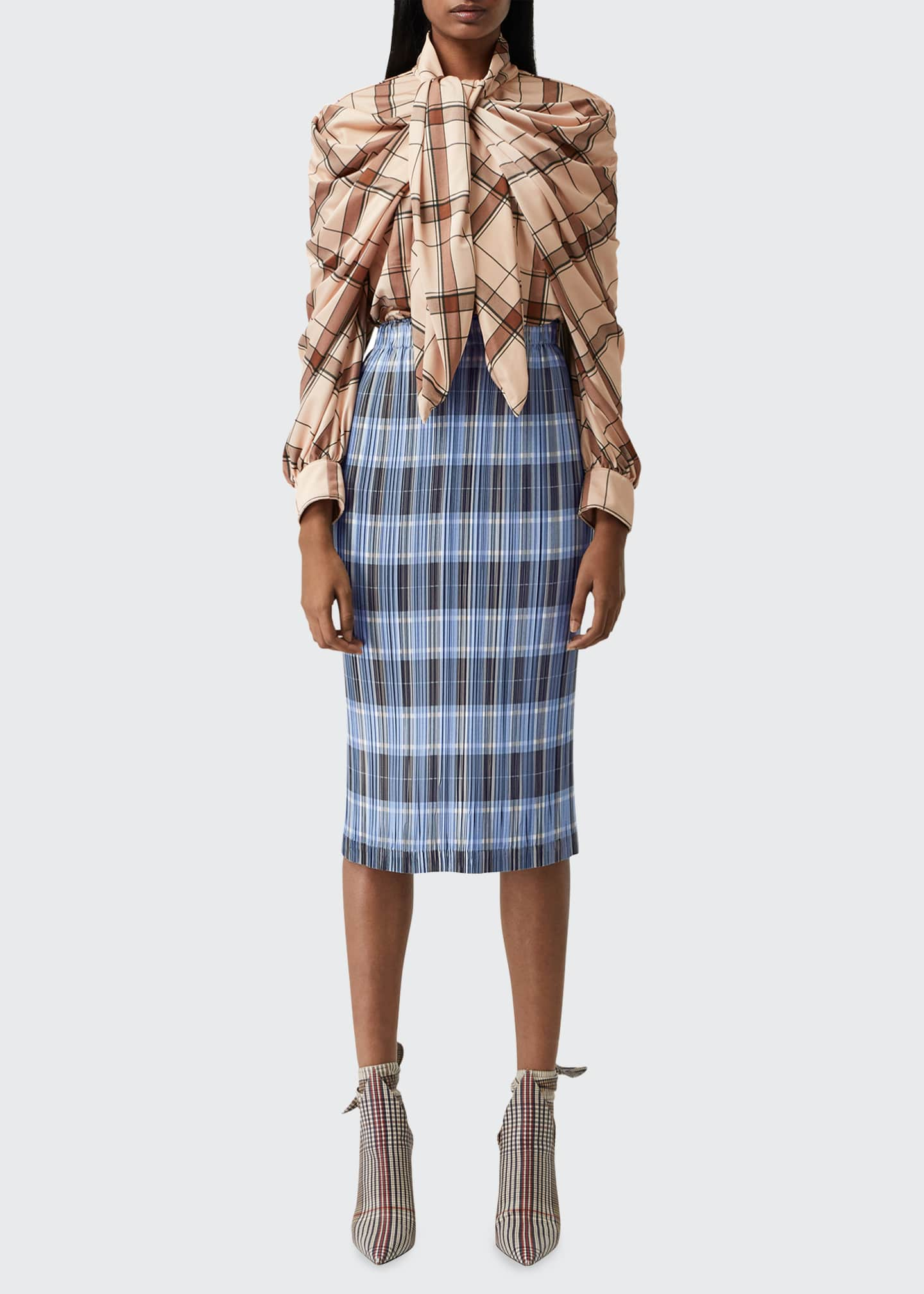 Image 3 of 5: Allover Plisse Pleated Check Pencil Skirt