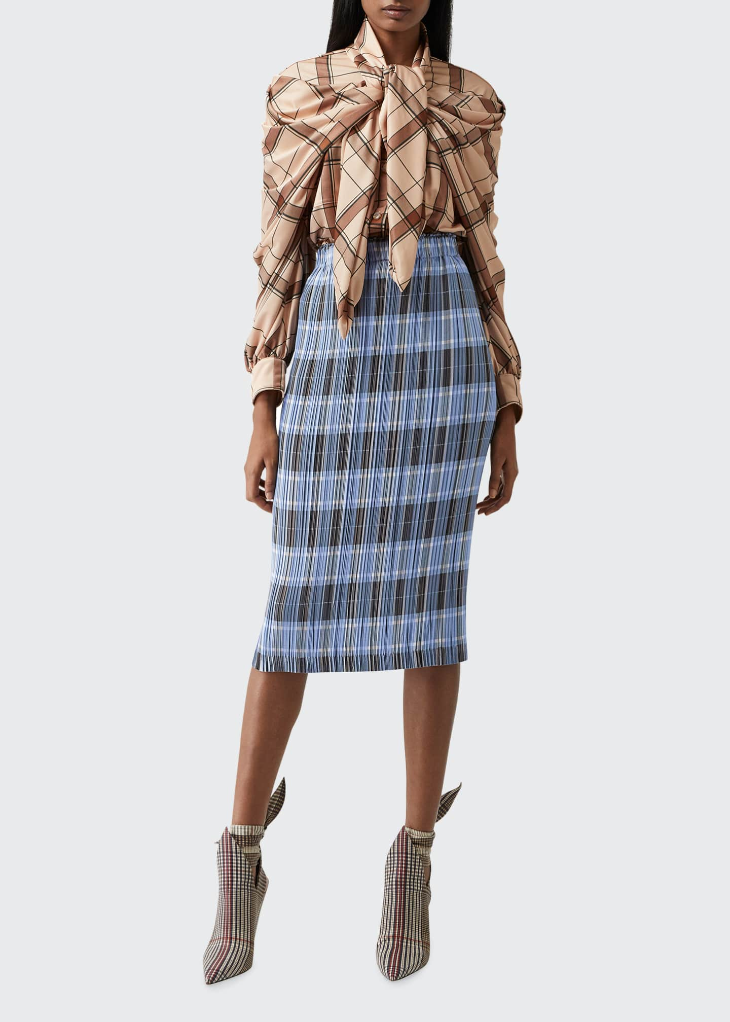Image 1 of 5: Allover Plisse Pleated Check Pencil Skirt