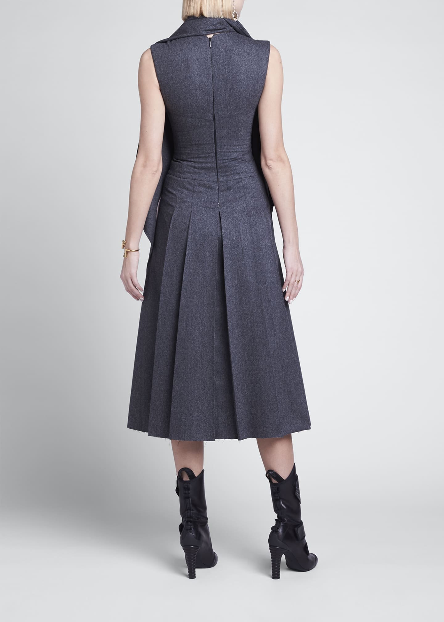 Image 2 of 4: Wrap-Collar Flannel Pleated Midi Dress