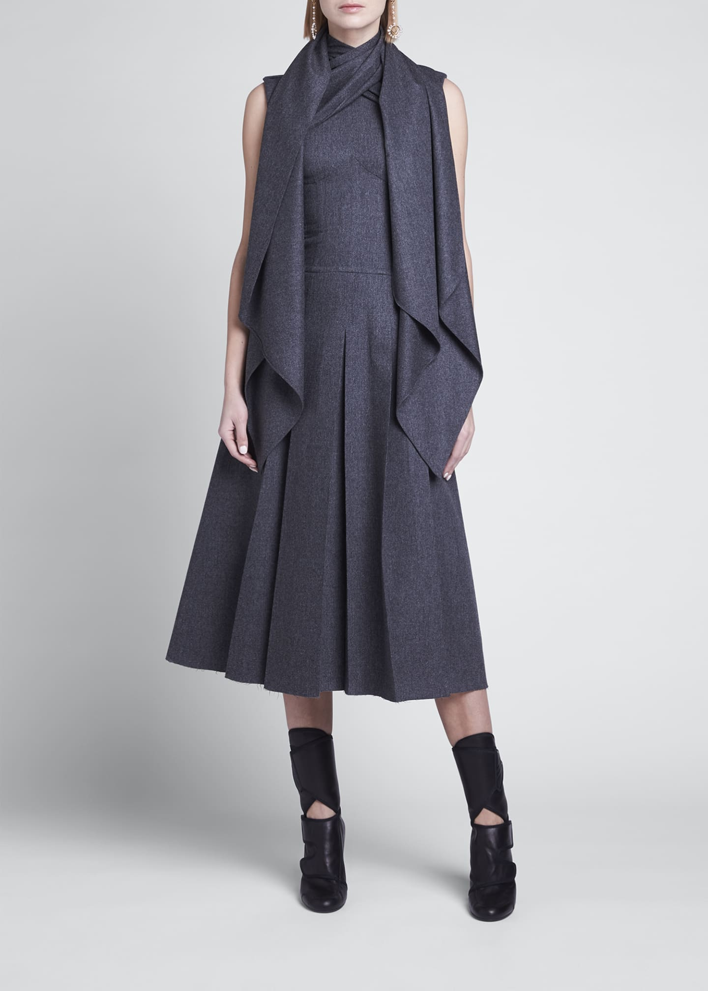 Image 3 of 4: Wrap-Collar Flannel Pleated Midi Dress