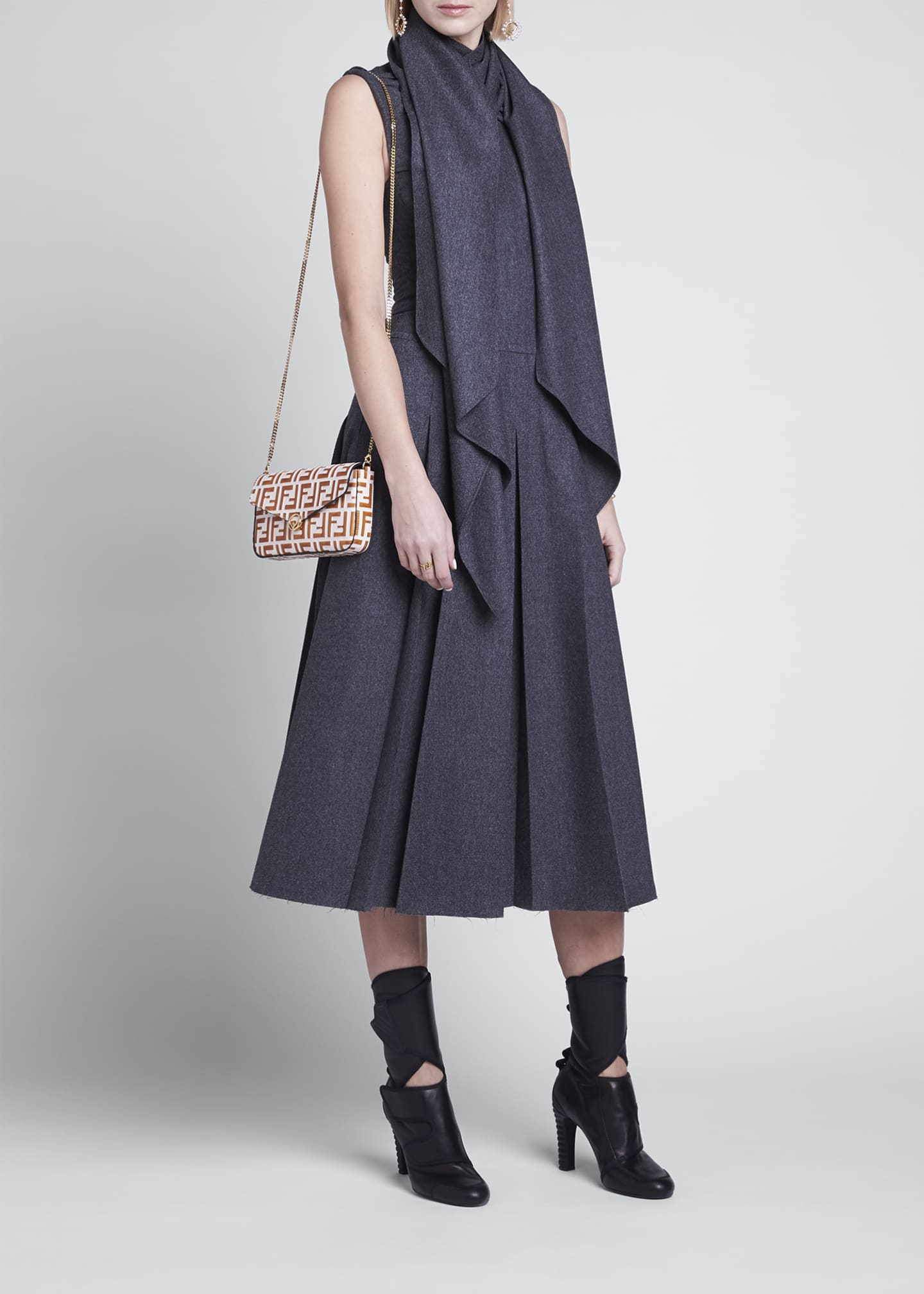 Image 1 of 4: Wrap-Collar Flannel Pleated Midi Dress