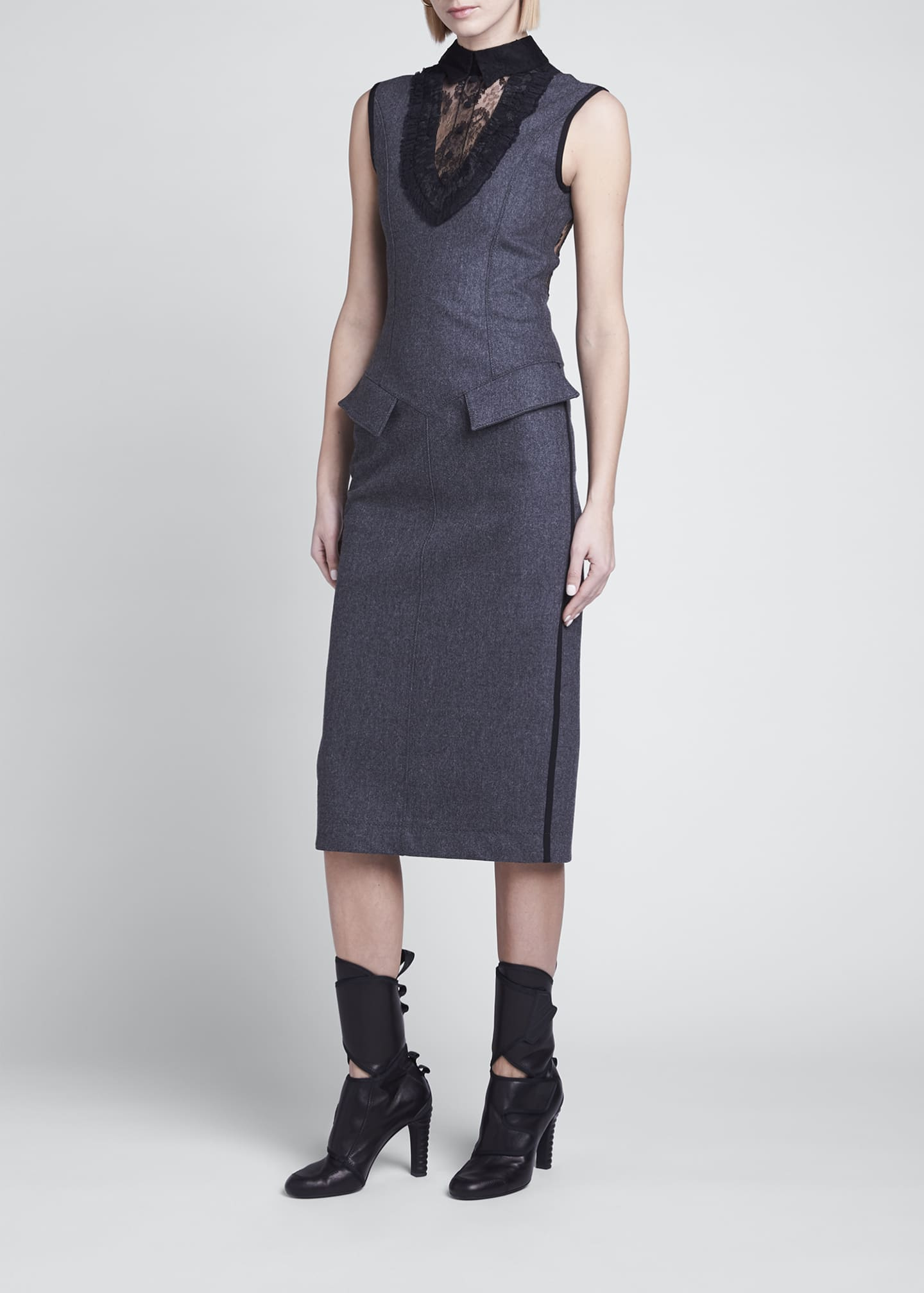 Image 3 of 4: Cashmere Flannel Lace Midi Dress