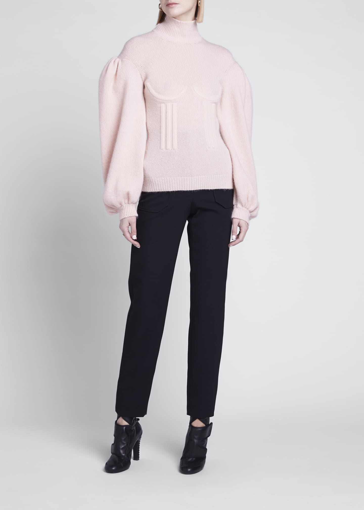 Image 1 of 3: Boned Cashmere-Blend Sweater