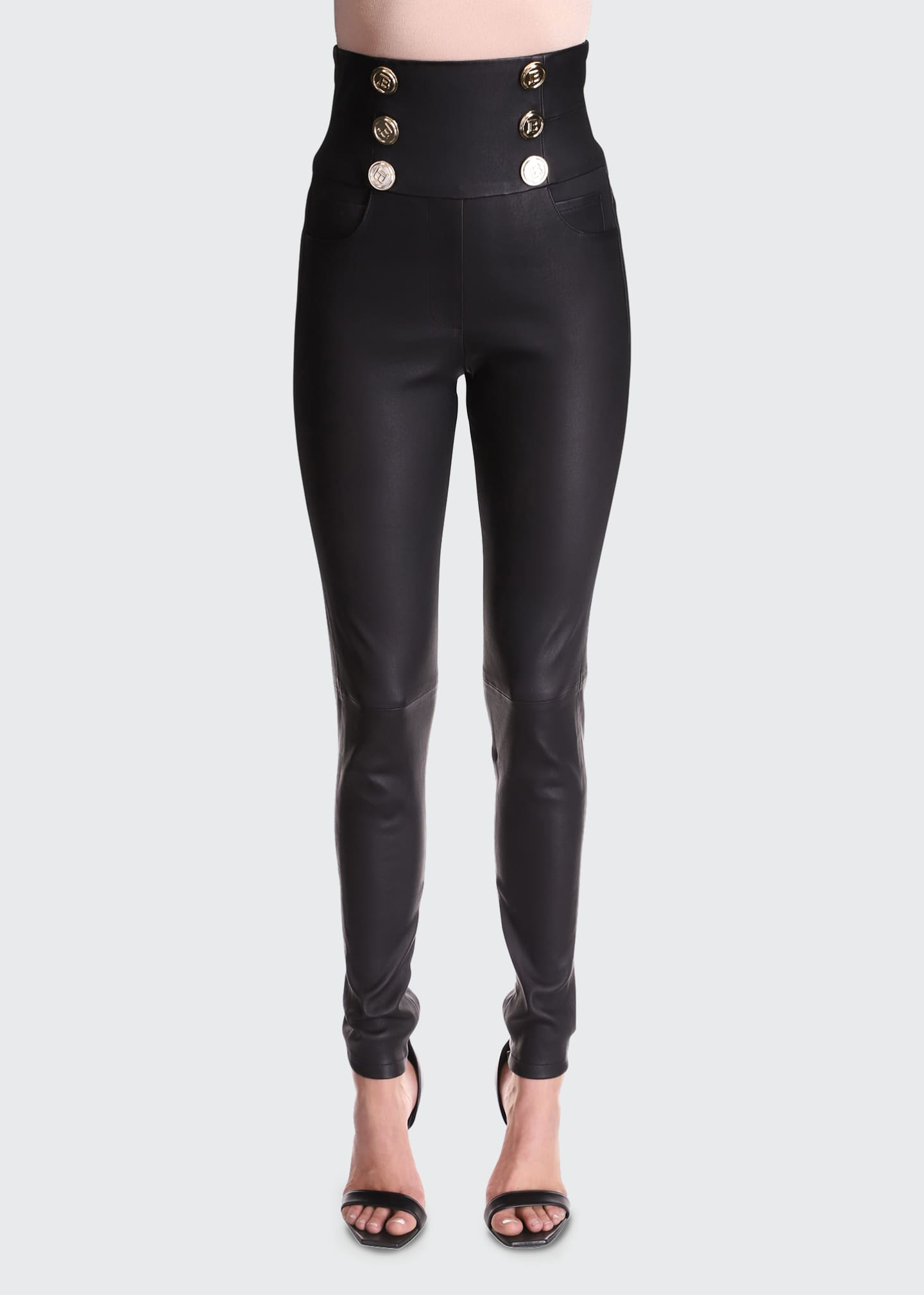 Image 1 of 3: Leather Skinny Pants