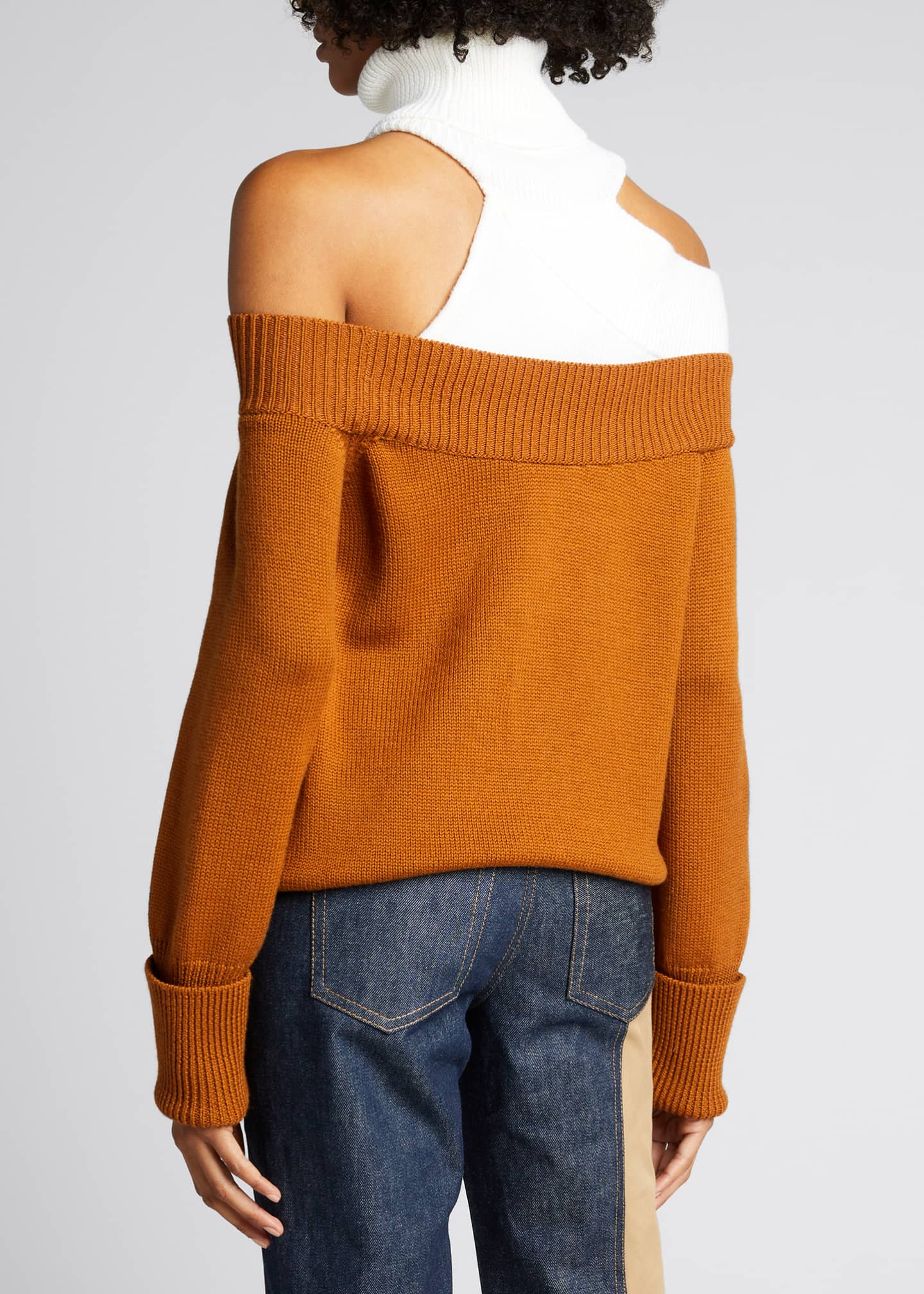 Image 2 of 5: Colorblock Off-the-Shoulder Turtleneck Sweater
