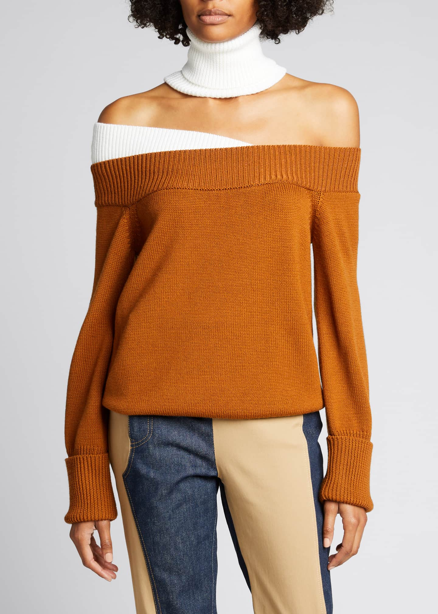 Image 3 of 5: Colorblock Off-the-Shoulder Turtleneck Sweater
