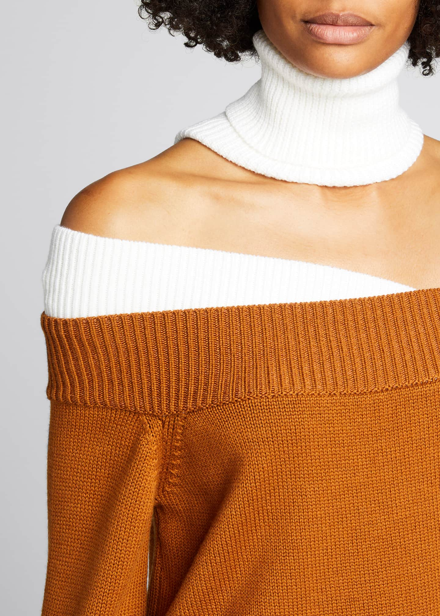 Image 4 of 5: Colorblock Off-the-Shoulder Turtleneck Sweater