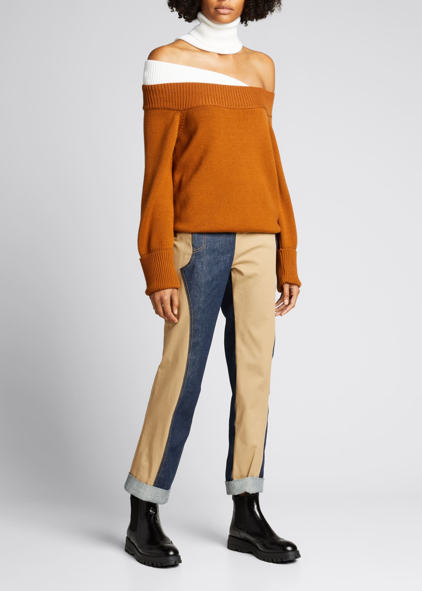 Image 1 of 5: Colorblock Off-the-Shoulder Turtleneck Sweater