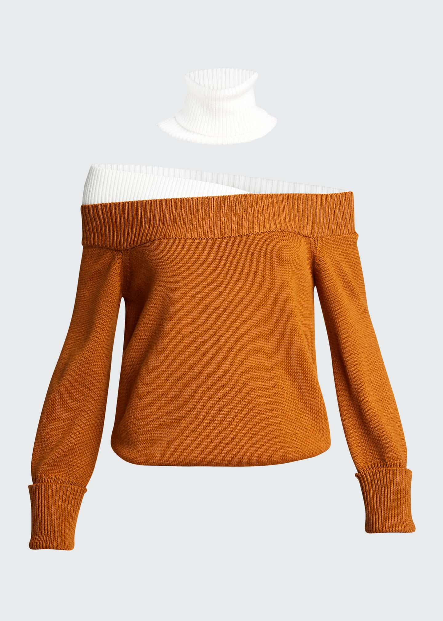 Image 5 of 5: Colorblock Off-the-Shoulder Turtleneck Sweater