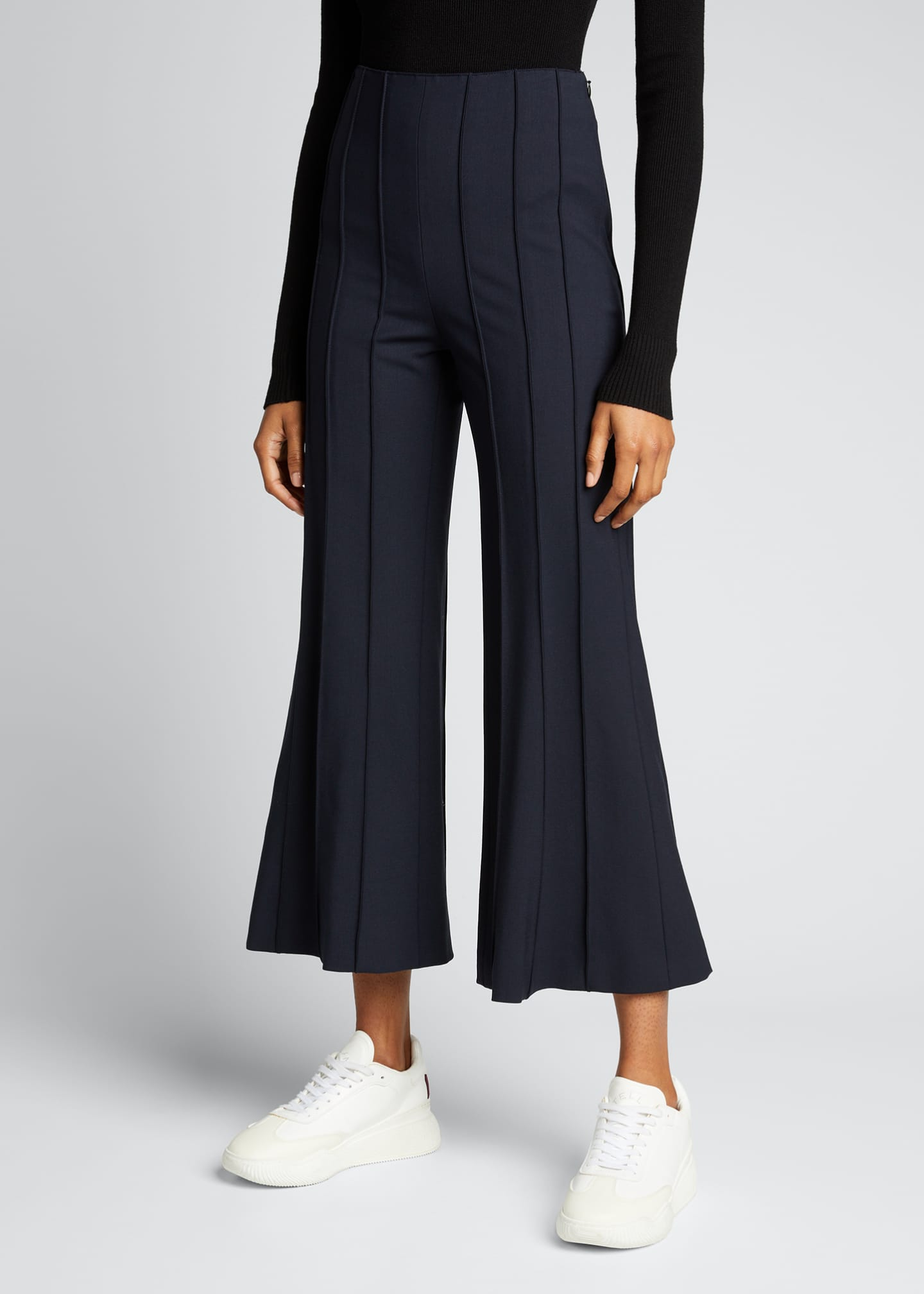 Image 3 of 5: Cropped Flare Pintuck Pants