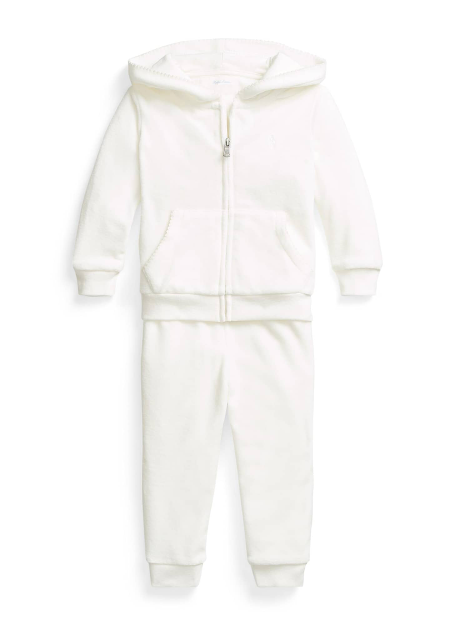 Image 1 of 2: Girl's Velour Two-Piece Jogger Set, Size 9-24M