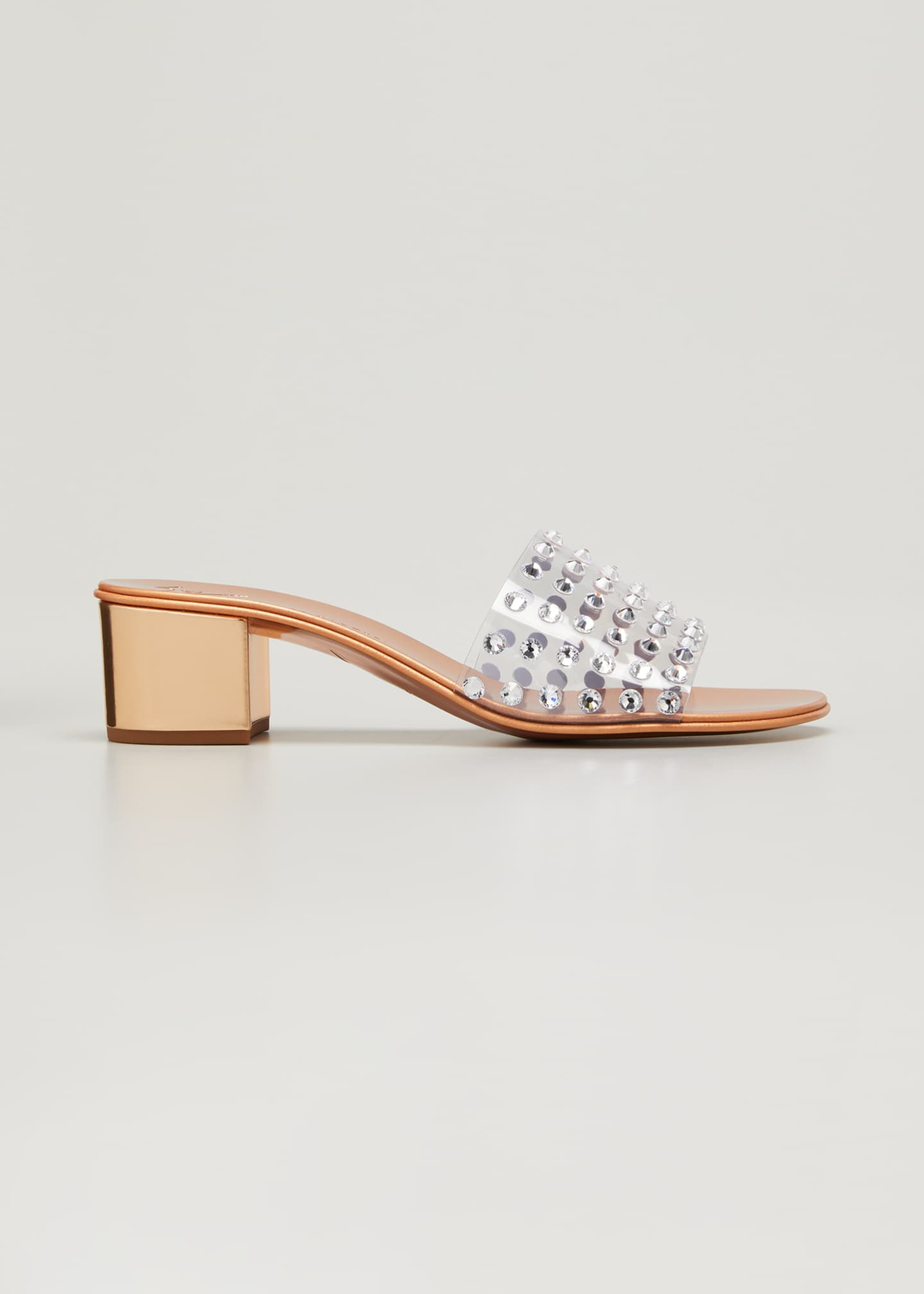 Image 1 of 3: Crystal Studded Clear Slide Sandals