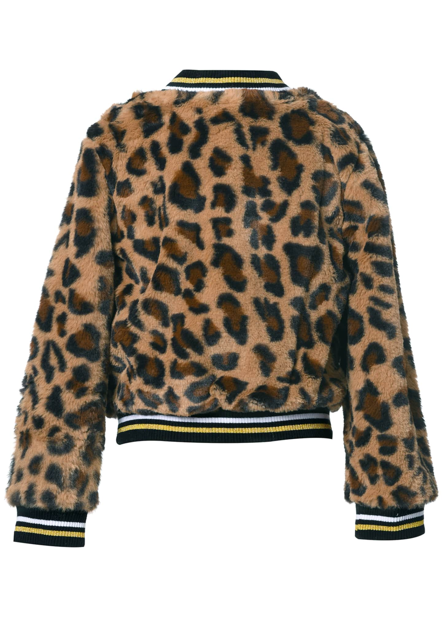 Image 2 of 2: Girl's Leopard-Print Faux Fur Bomber Jacket, Size 2-6