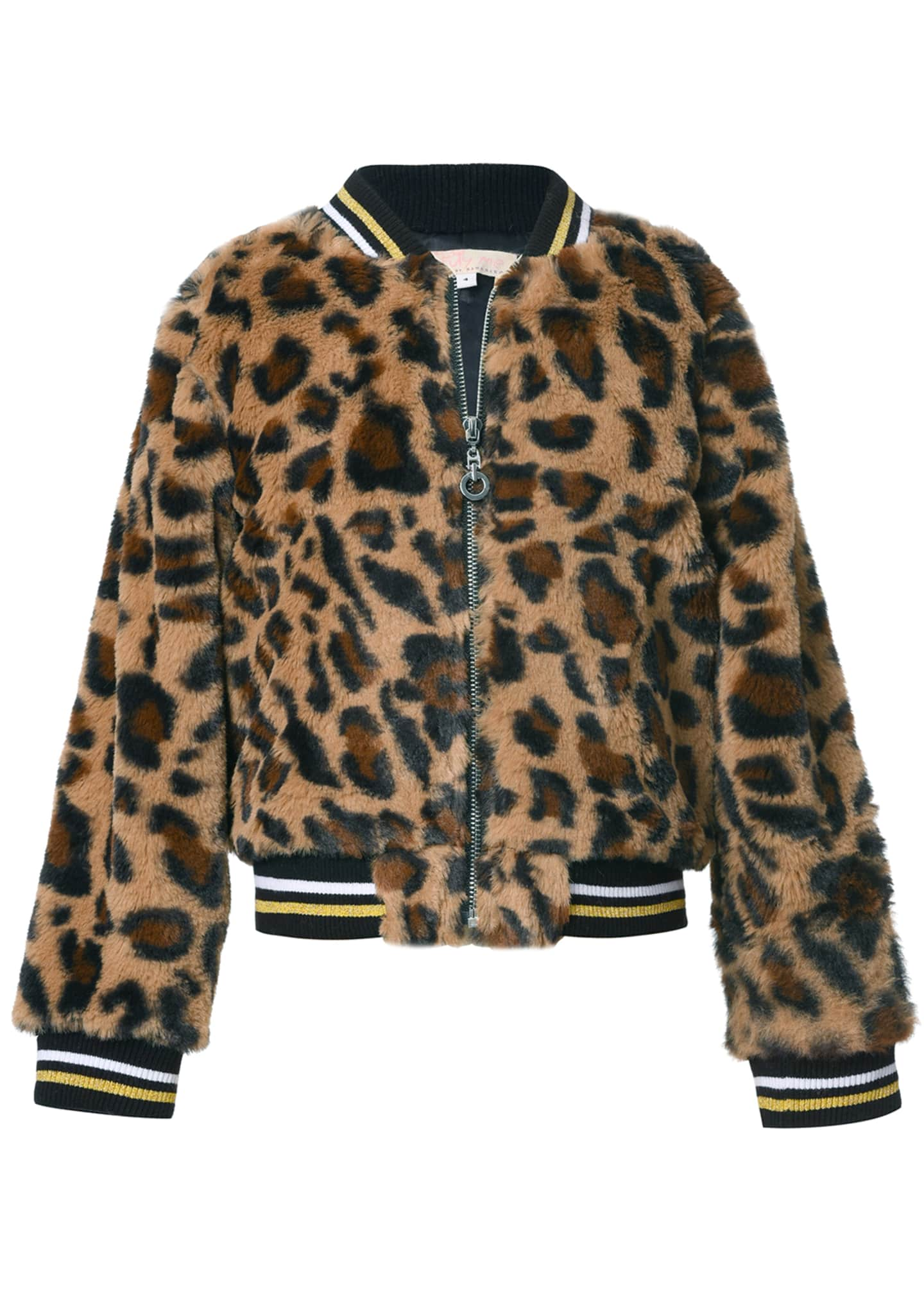 Image 1 of 2: Girl's Leopard-Print Faux Fur Bomber Jacket, Size 2-6