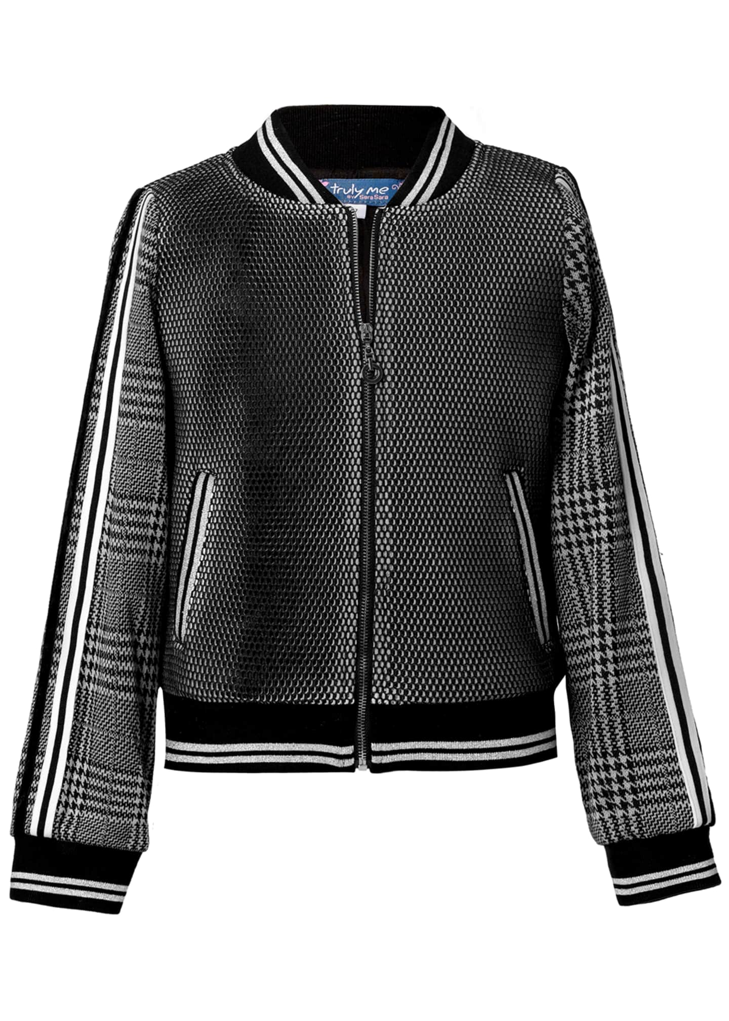 Girl's Houndstooth Plaid Mesh Bomber Jacket, Size 4-14