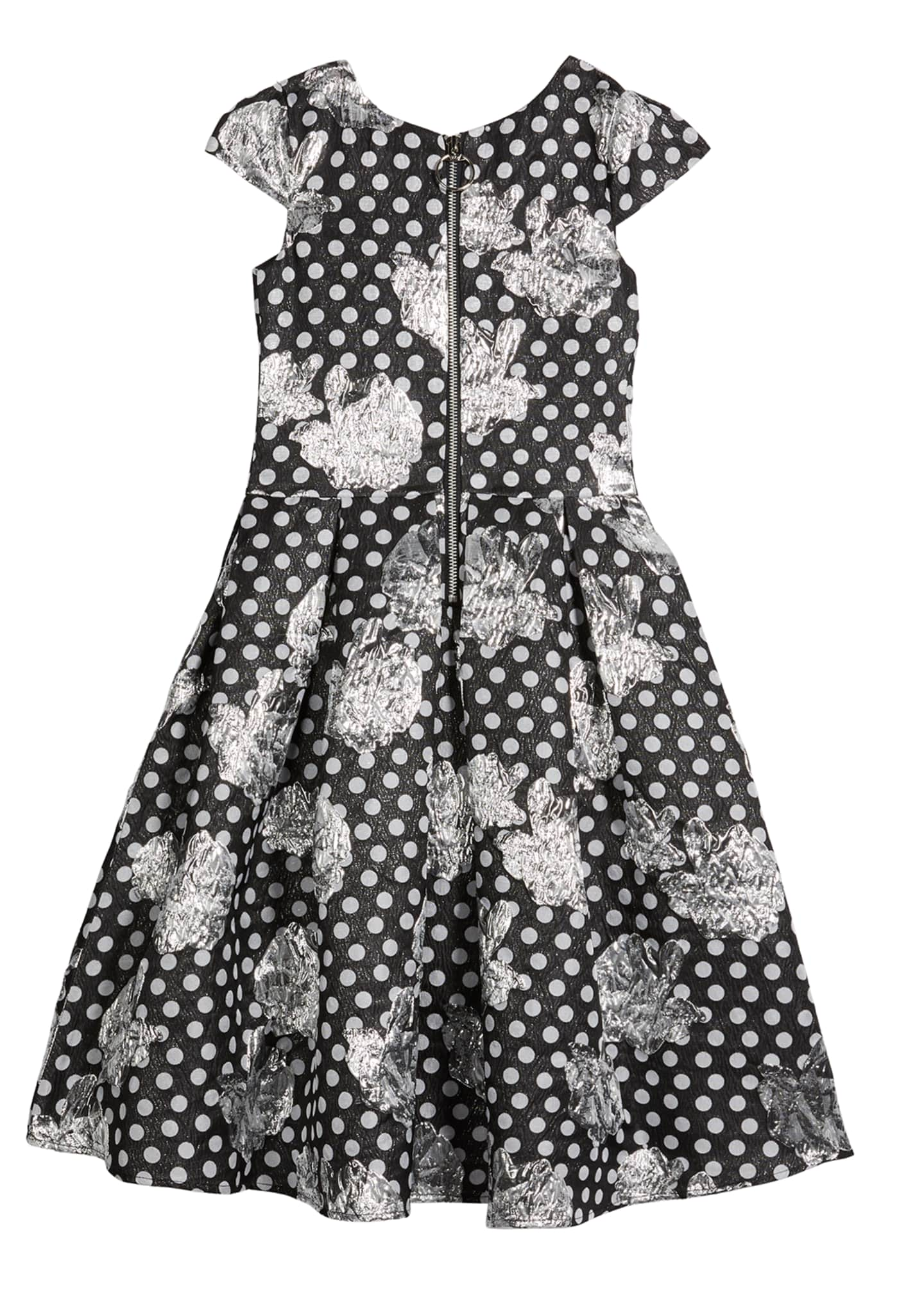 Image 2 of 2: Girl's Metallic Dotted Rose High-Low Dress, Size 7-16