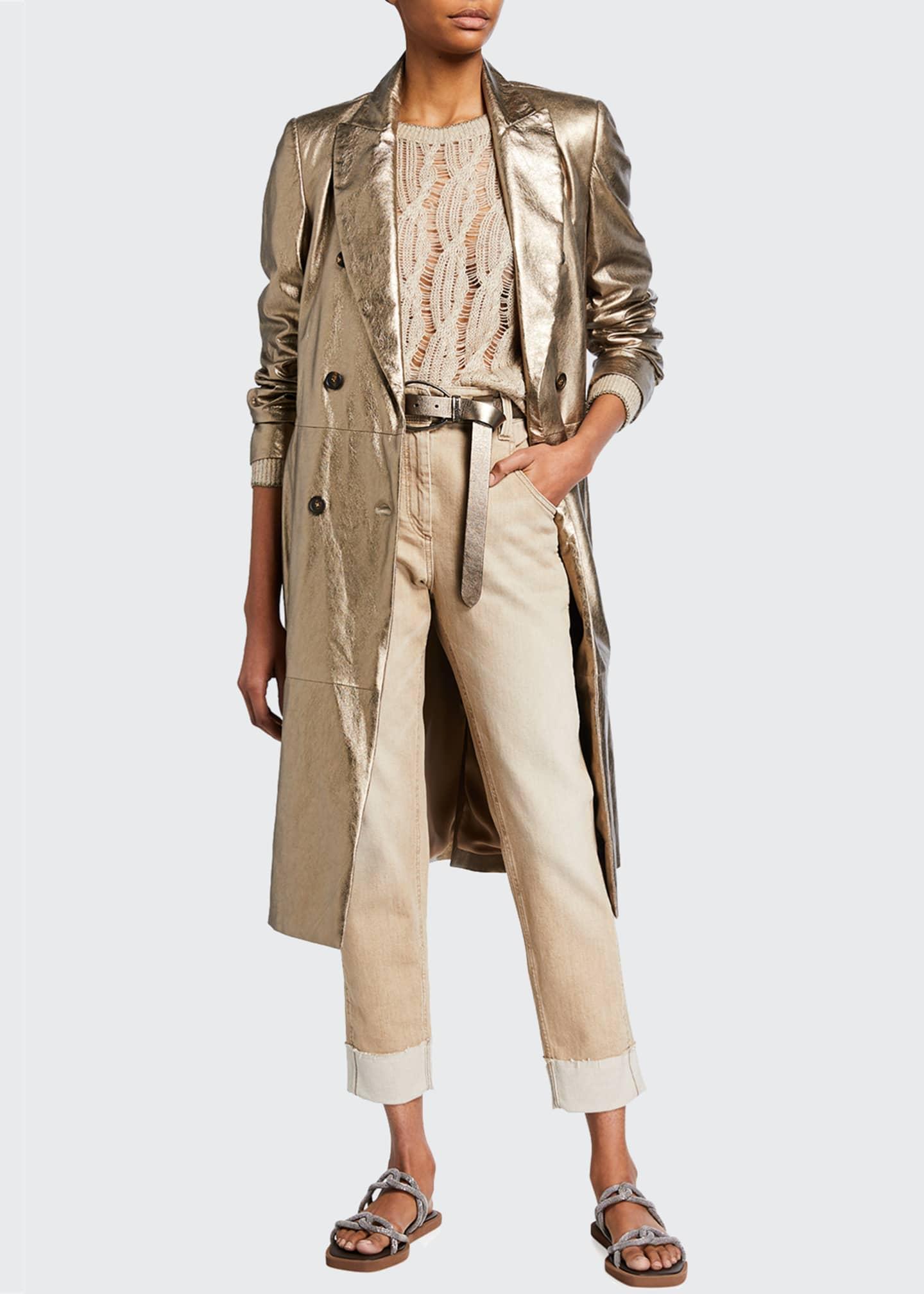Image 1 of 3: Garment-Dyed Cuffed Denim Pants