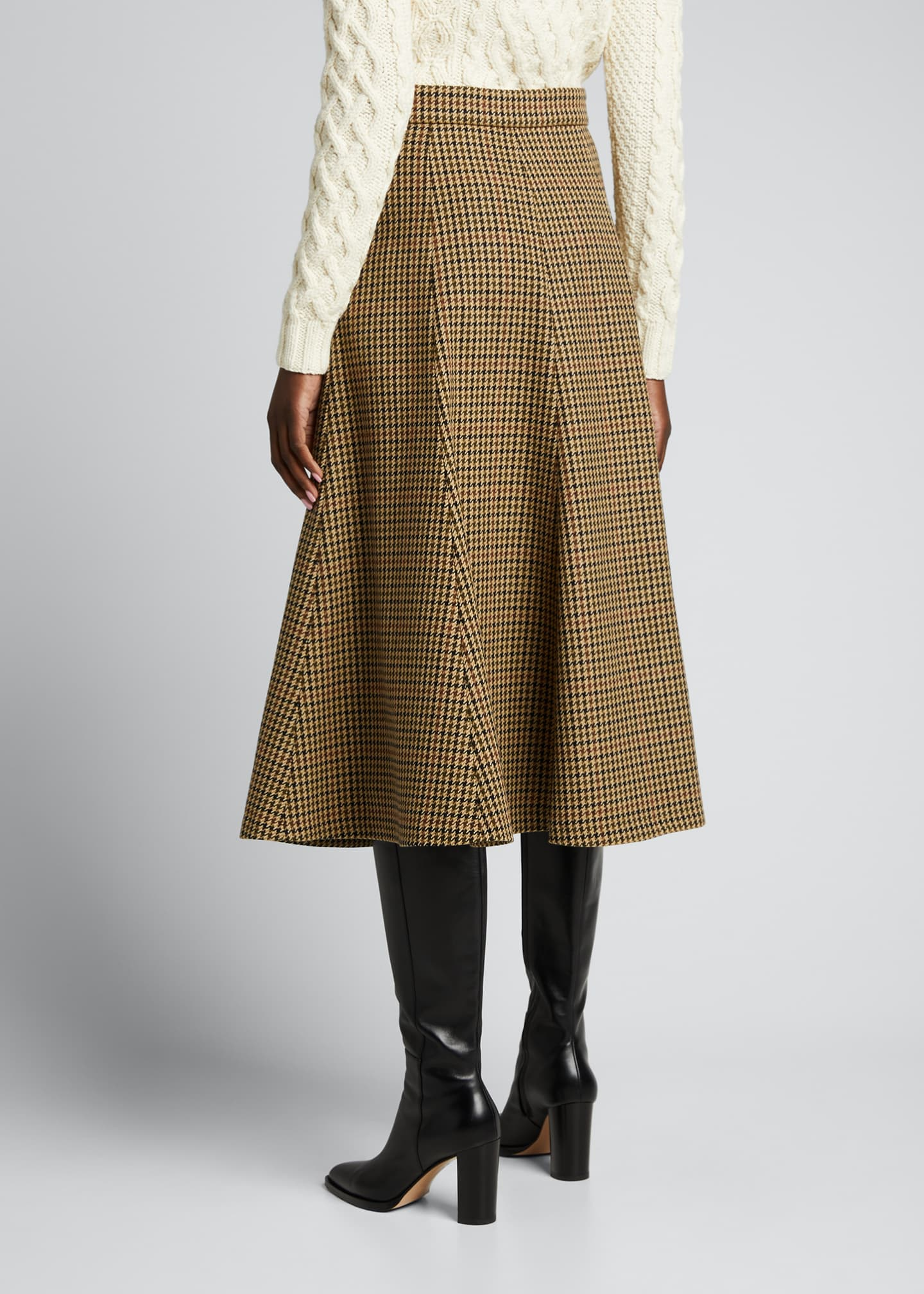 Image 2 of 5: Houndstooth Wool Midi Skirt