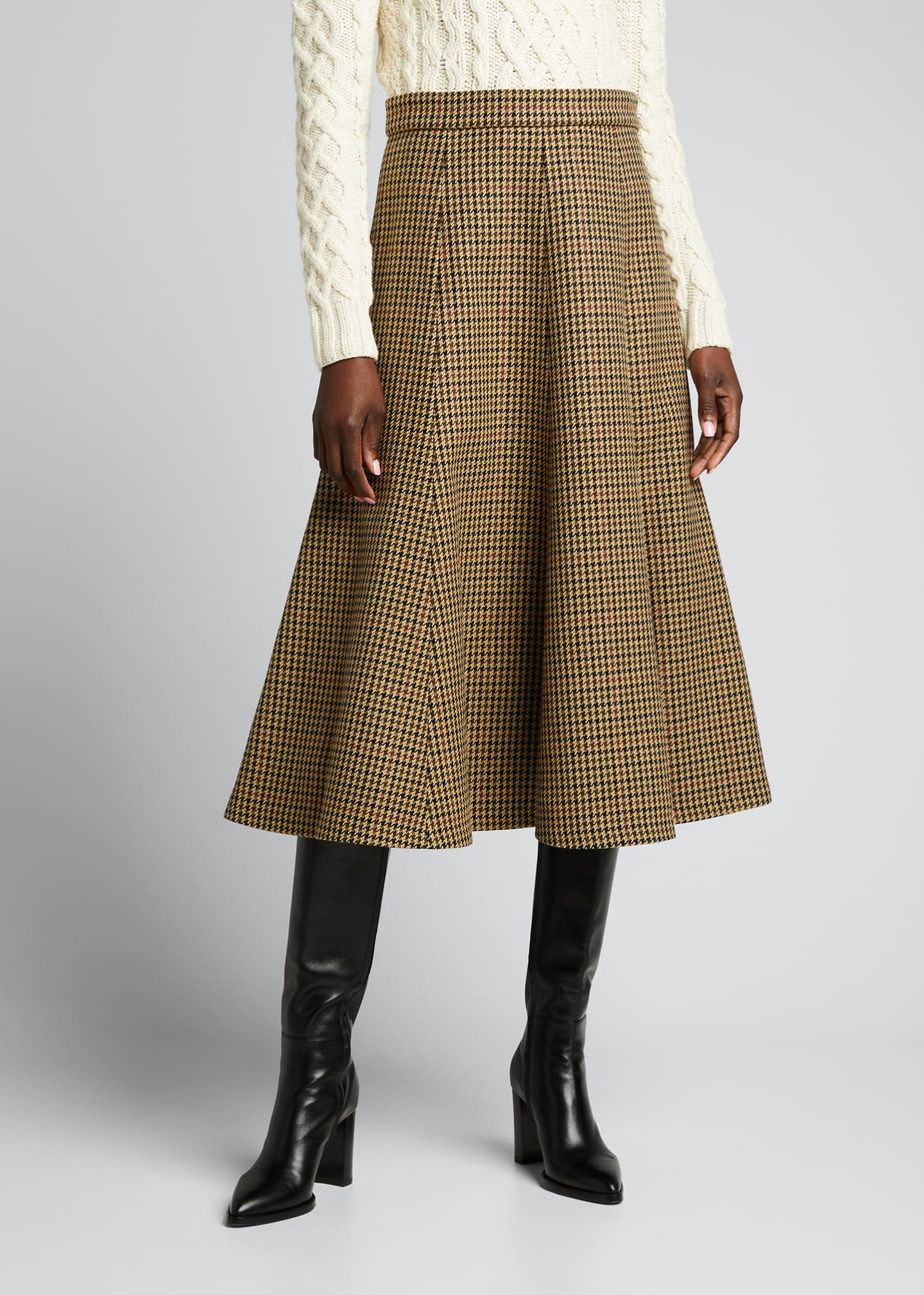 Image 3 of 5: Houndstooth Wool Midi Skirt