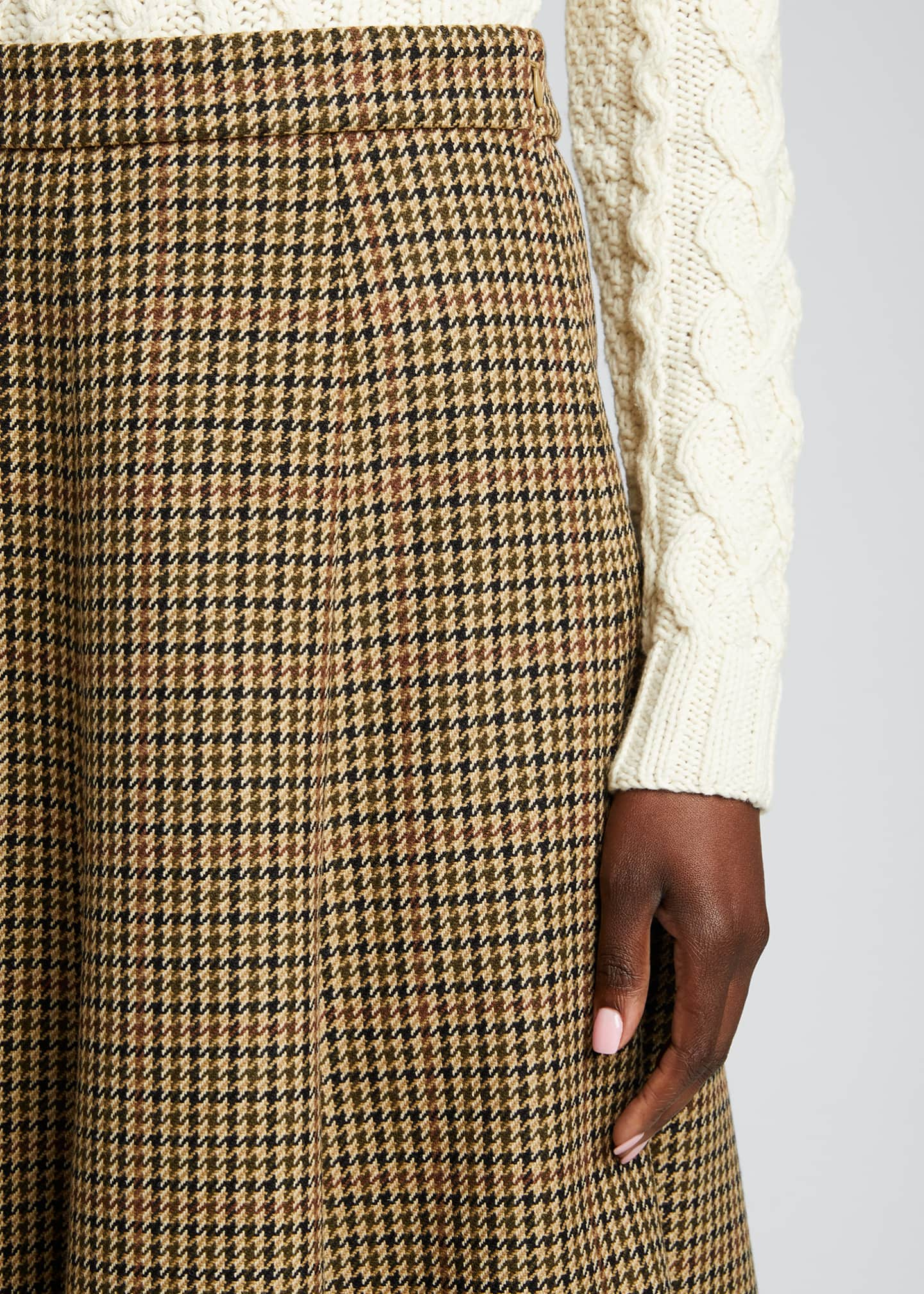 Image 4 of 5: Houndstooth Wool Midi Skirt