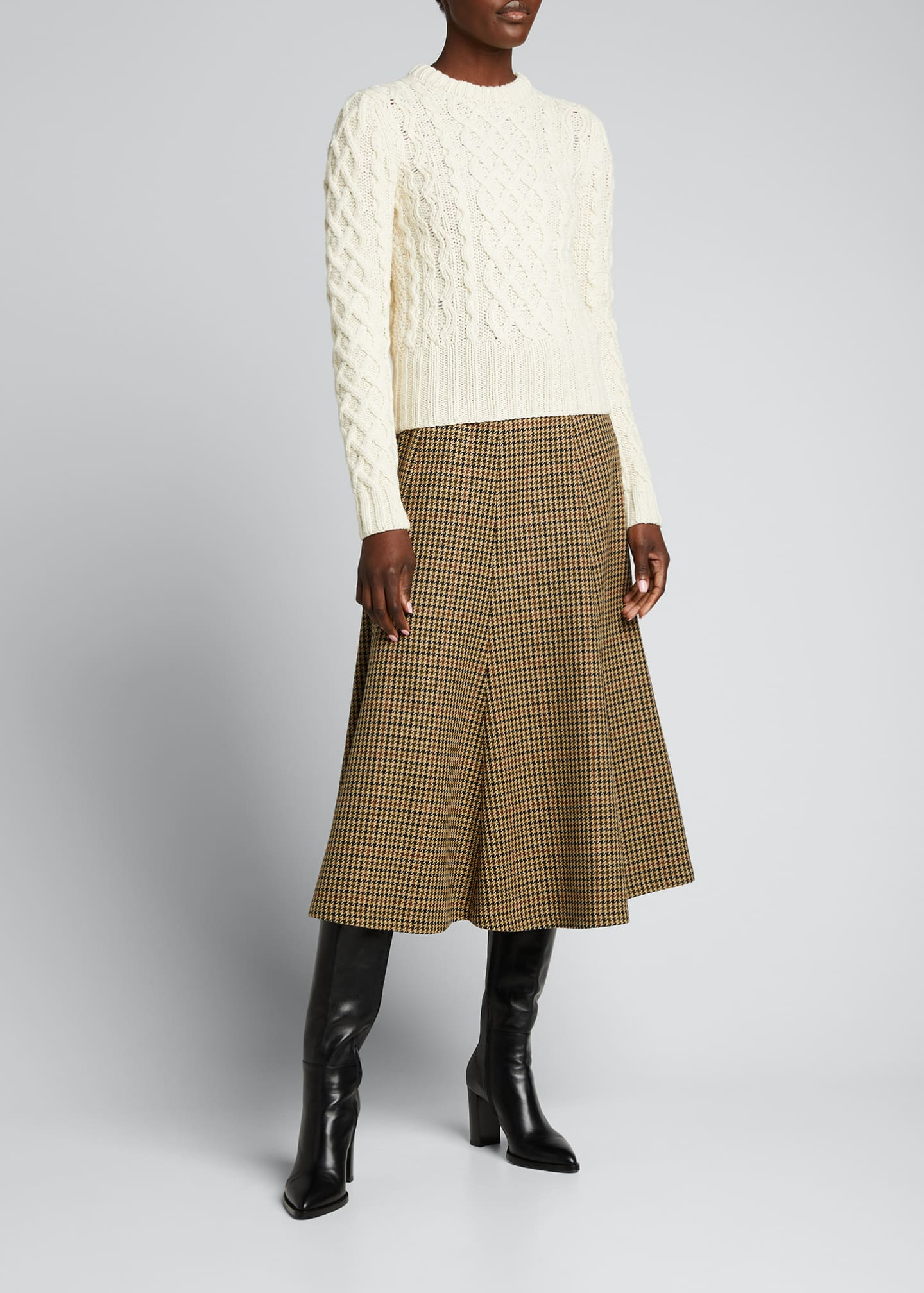 Image 1 of 5: Houndstooth Wool Midi Skirt