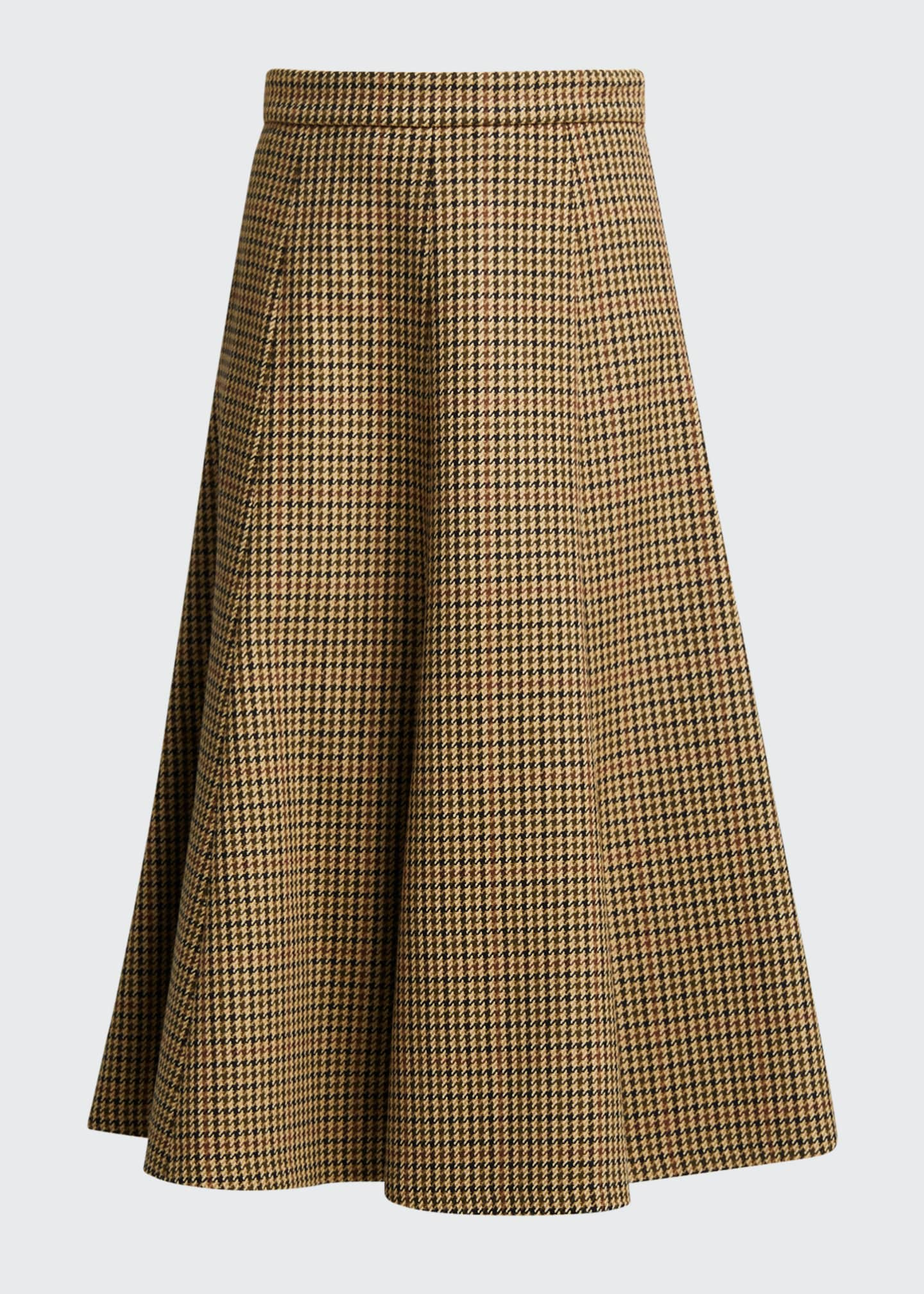 Image 5 of 5: Houndstooth Wool Midi Skirt
