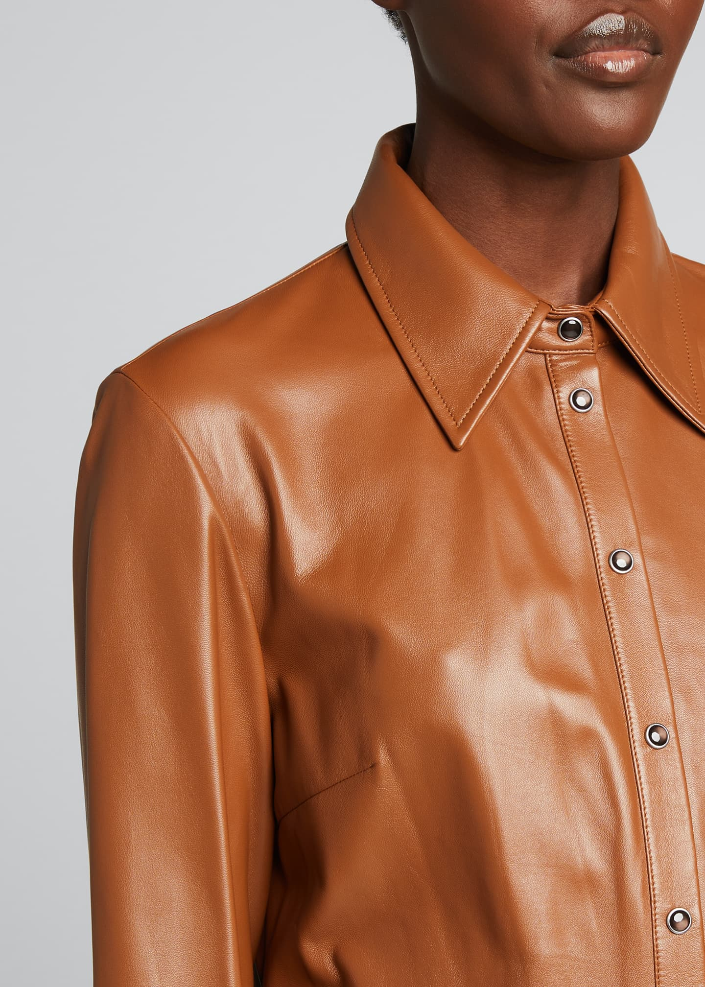 Image 4 of 4: Button-Down Leather Shirt