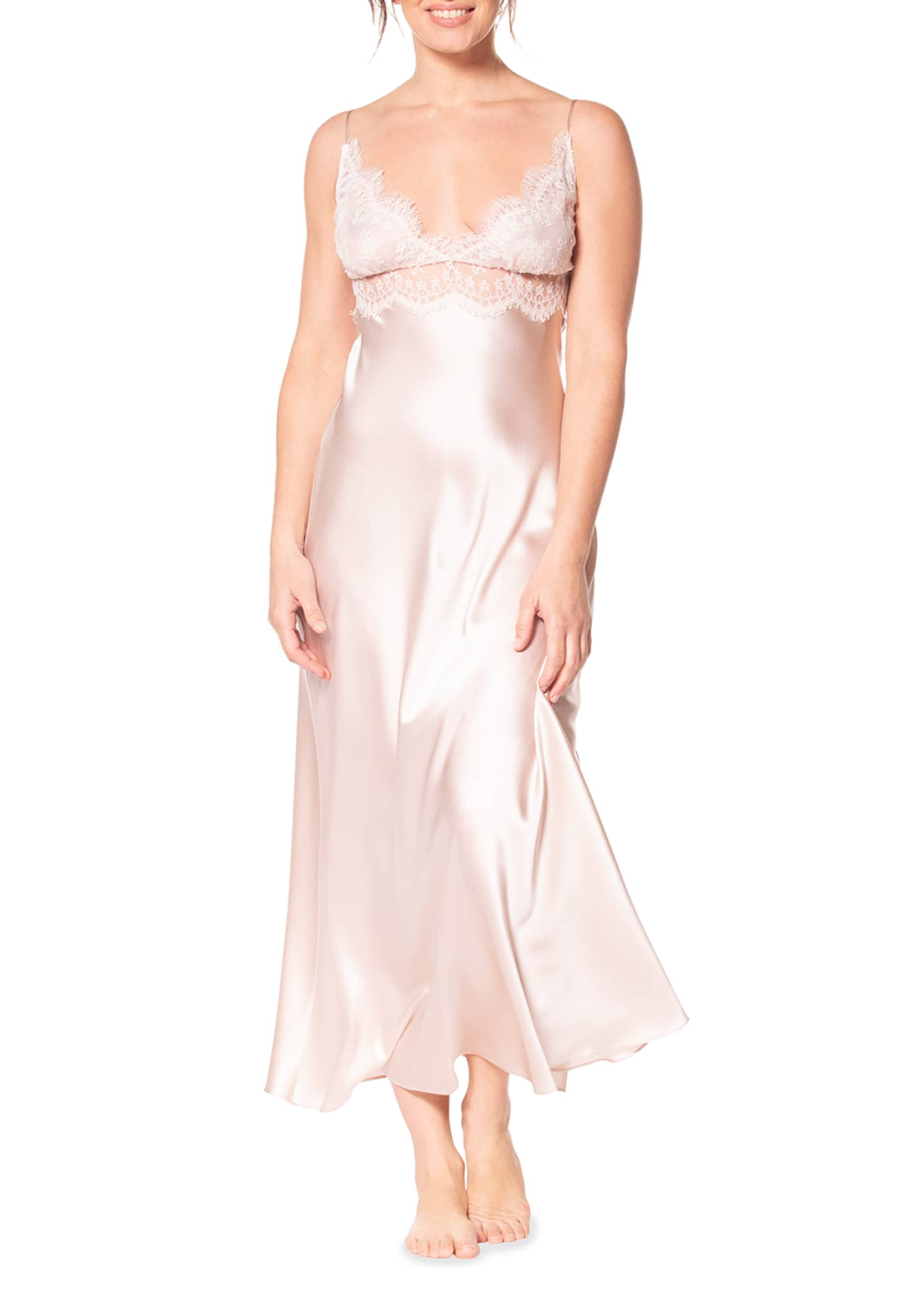 Image 1 of 2: Heirloom Silk Charmeuse Nightgown