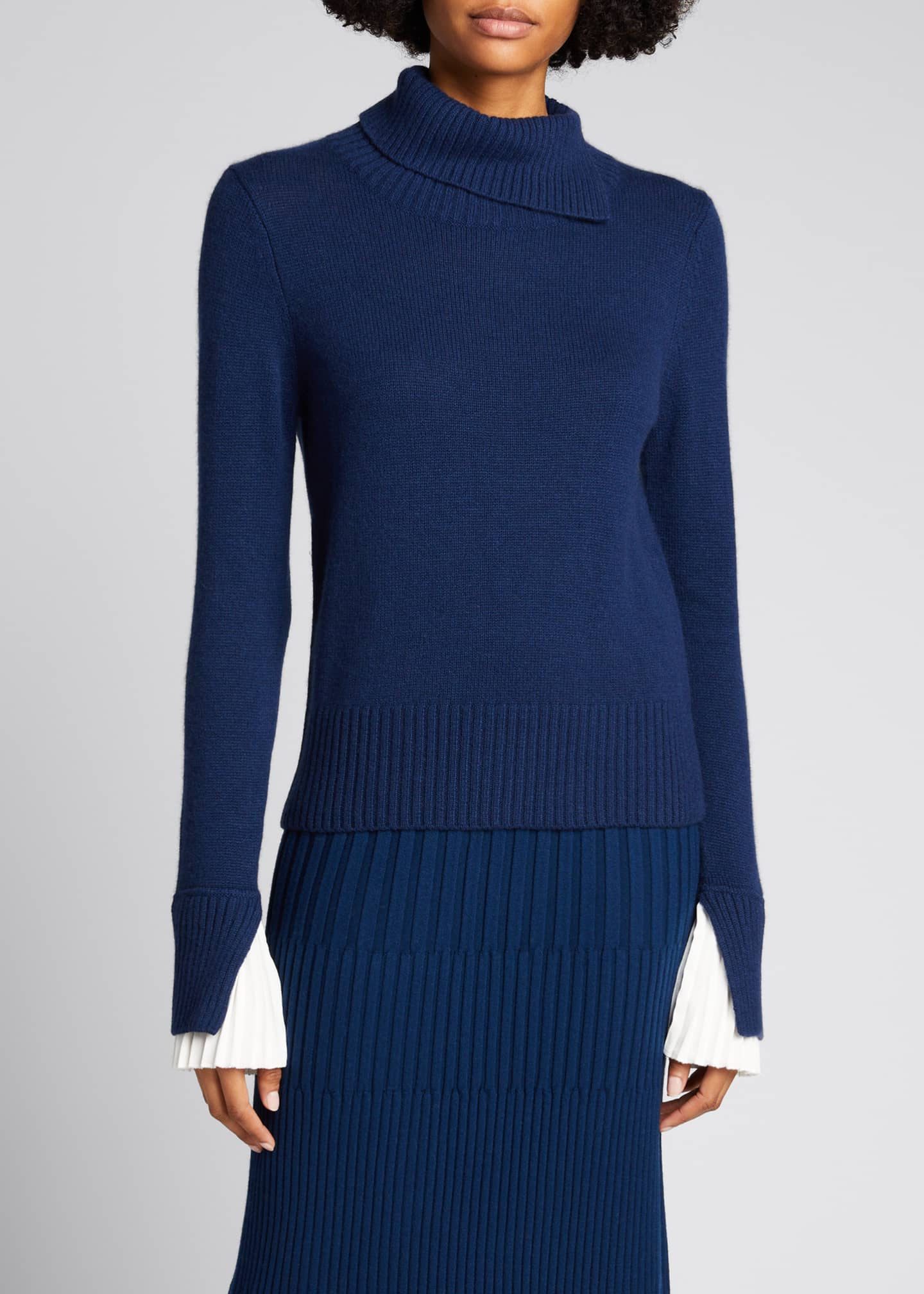 Image 3 of 5: Cashmere Turtleneck Sweater w/ Pleated Cuff Detail