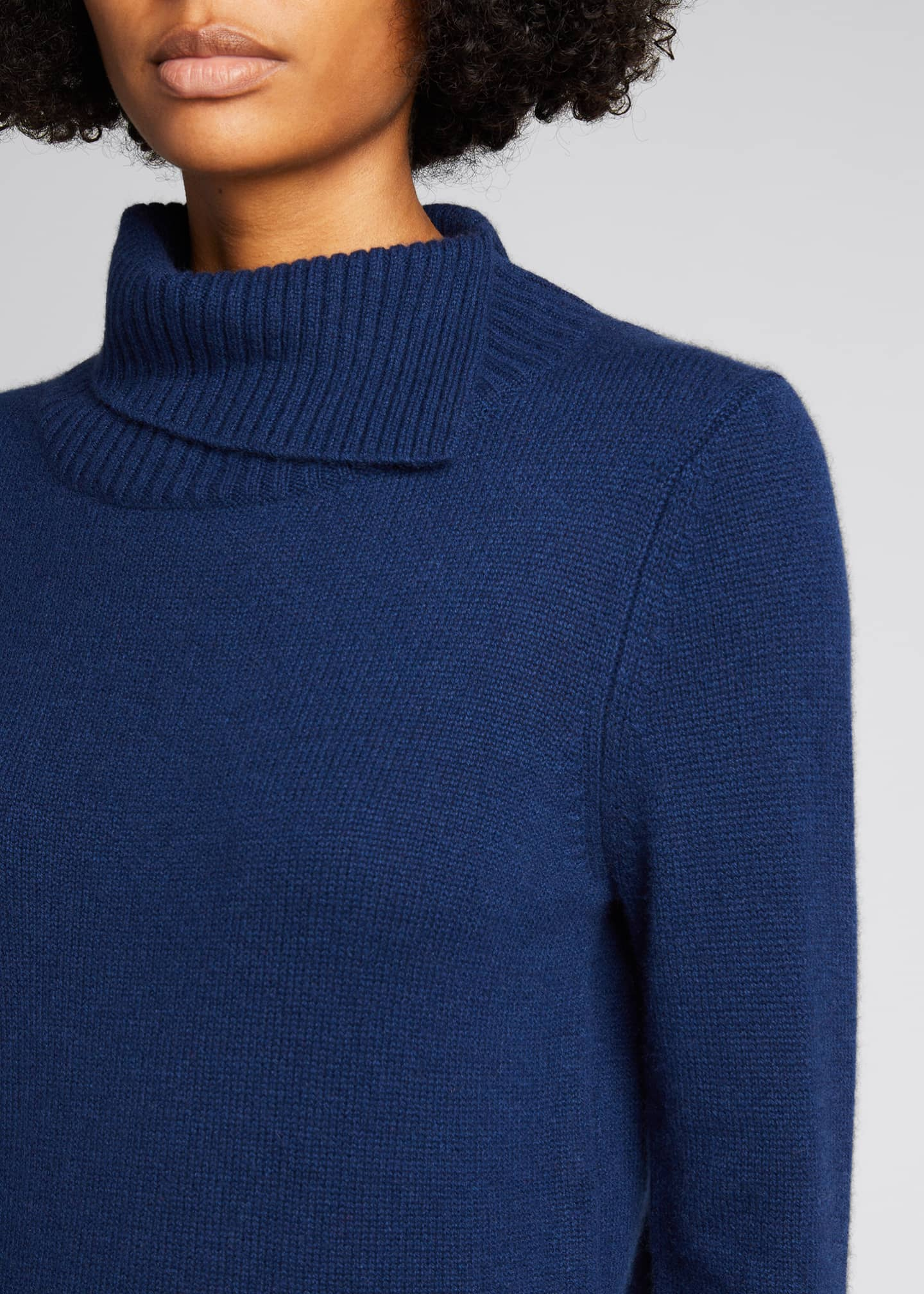 Image 4 of 5: Cashmere Turtleneck Sweater w/ Pleated Cuff Detail