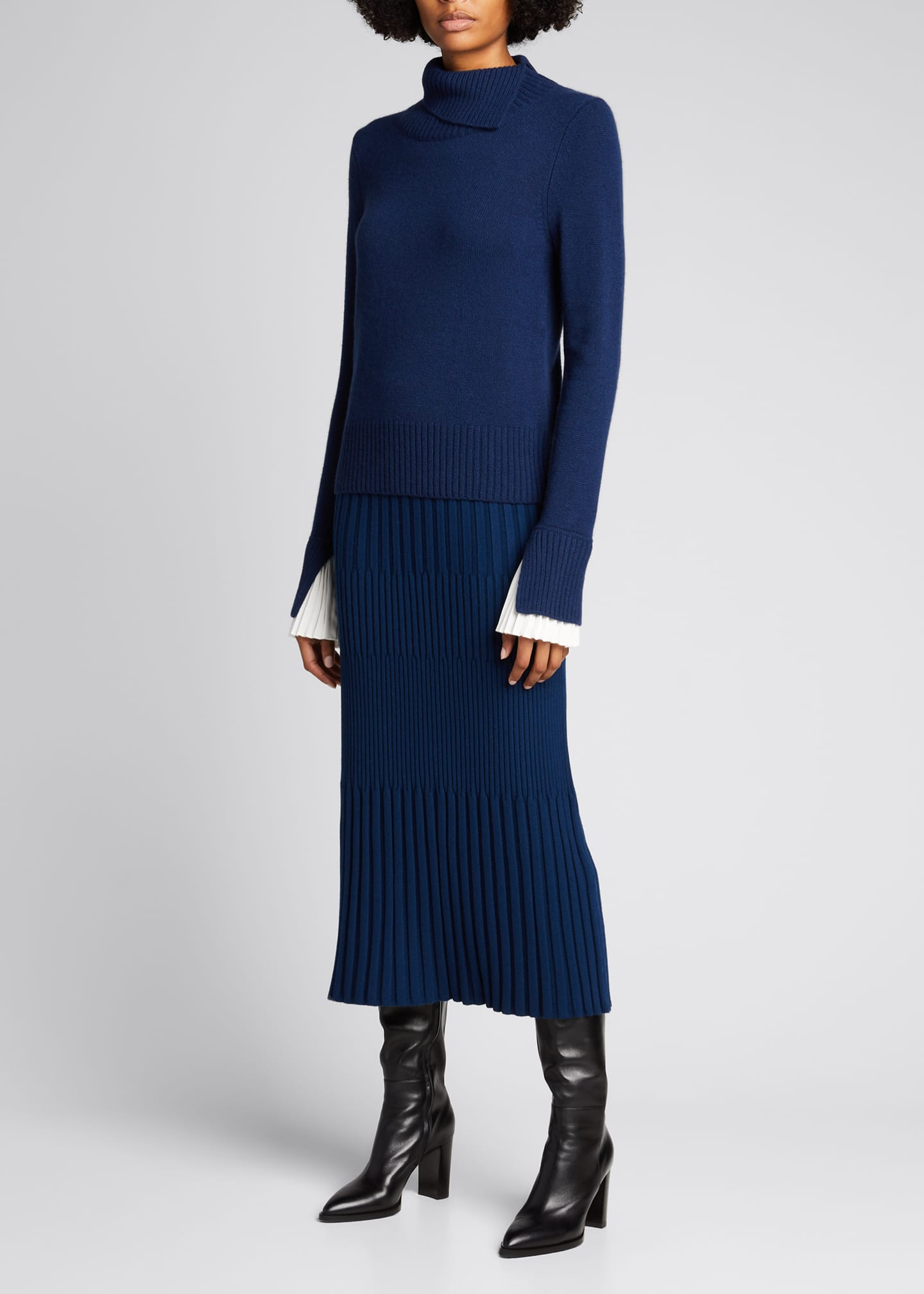 Cashmere Turtleneck Sweater w/ Pleated Cuff Detail