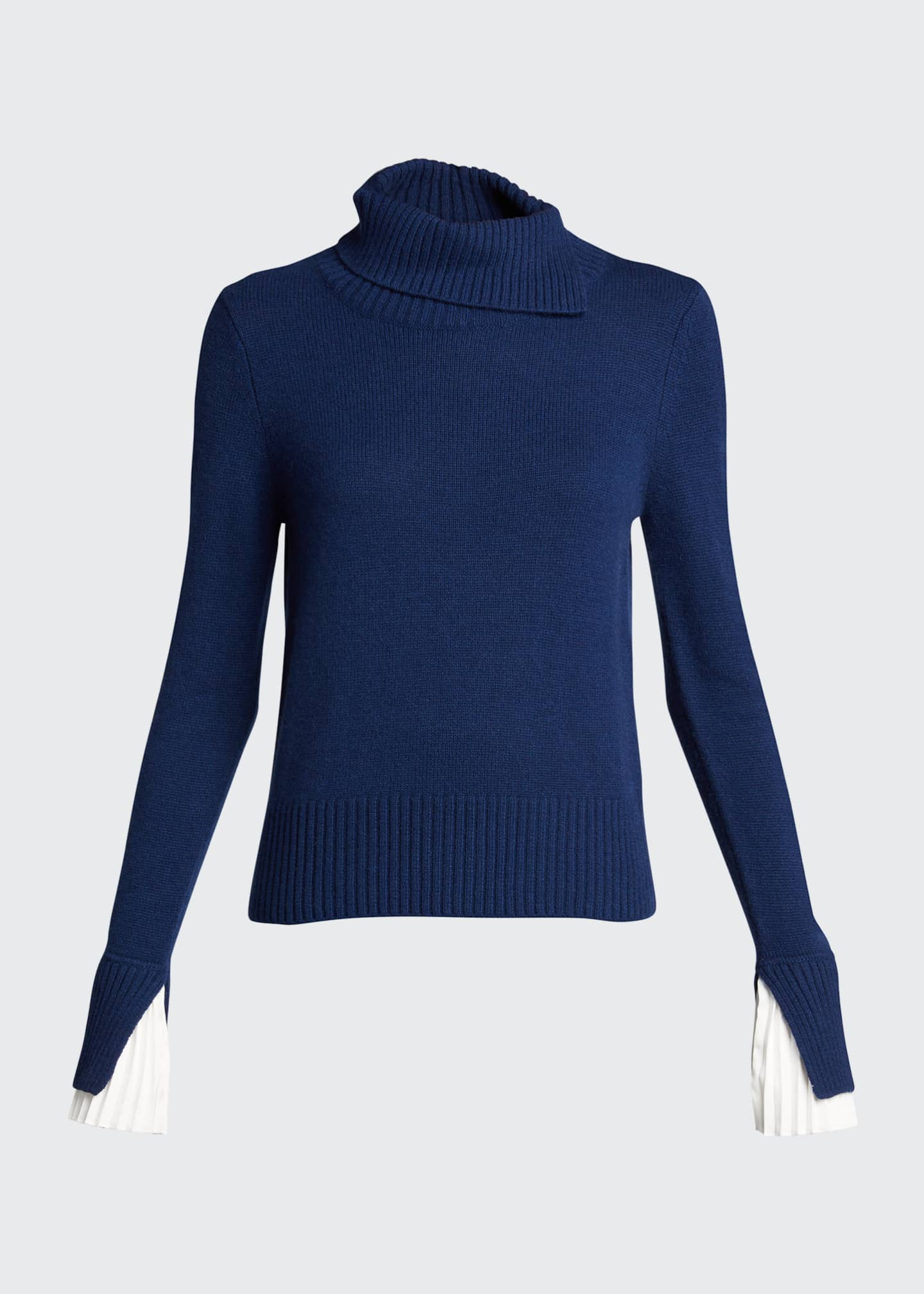 Image 5 of 5: Cashmere Turtleneck Sweater w/ Pleated Cuff Detail
