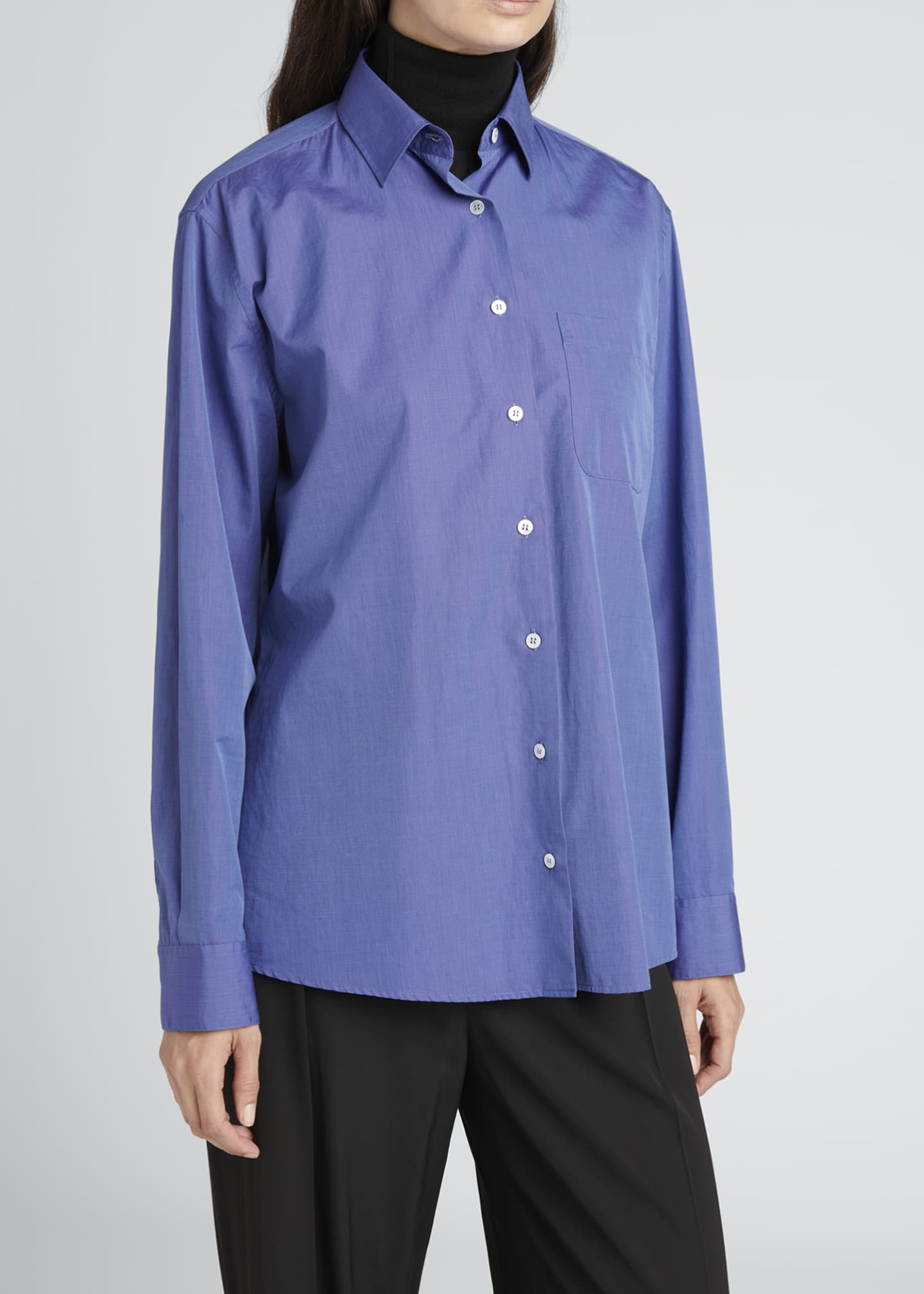 Image 4 of 4: Mario Solid Cotton Button-Down Shirt
