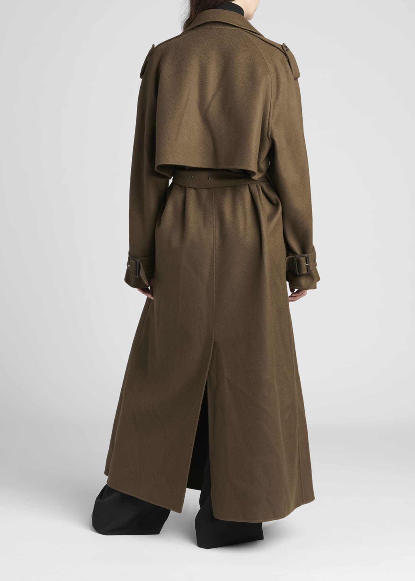 Image 2 of 4: Yeli Cashmere-Silk Oversize Trench Coat