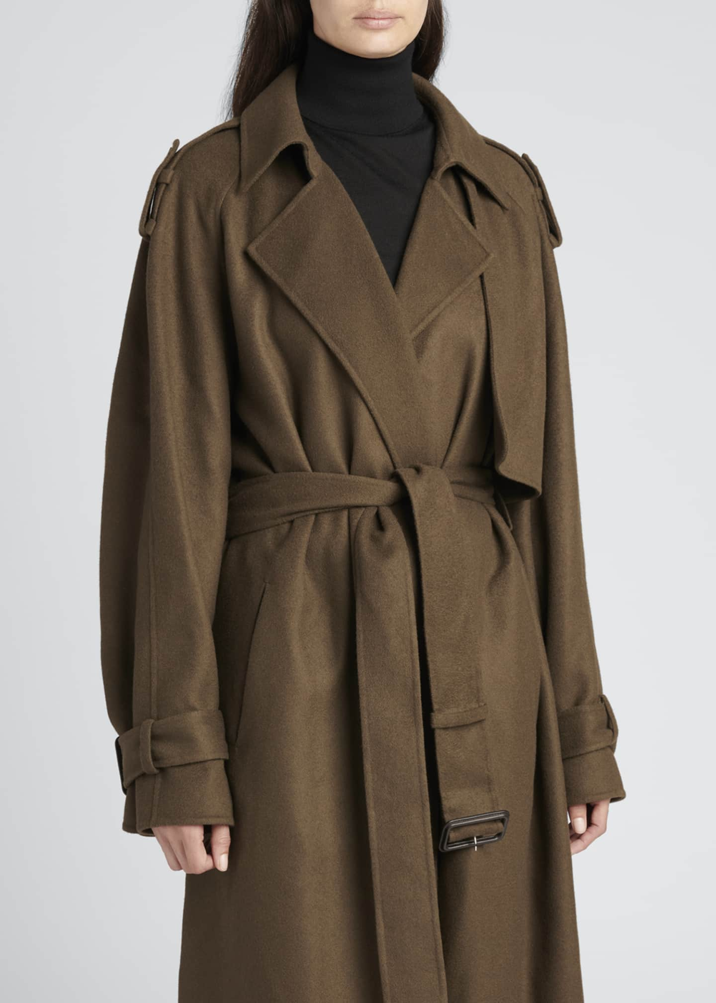 Image 4 of 4: Yeli Cashmere-Silk Oversize Trench Coat