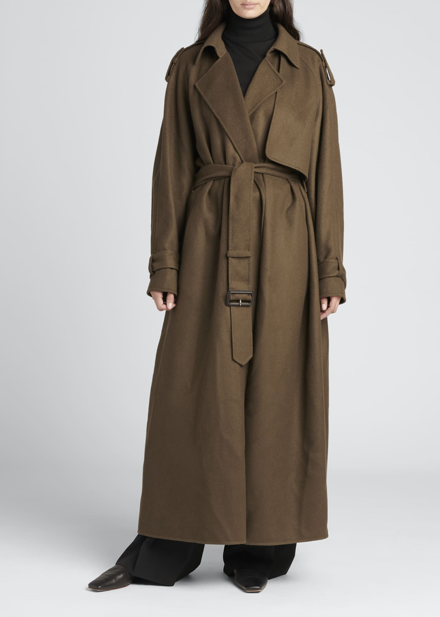 Image 1 of 4: Yeli Cashmere-Silk Oversize Trench Coat