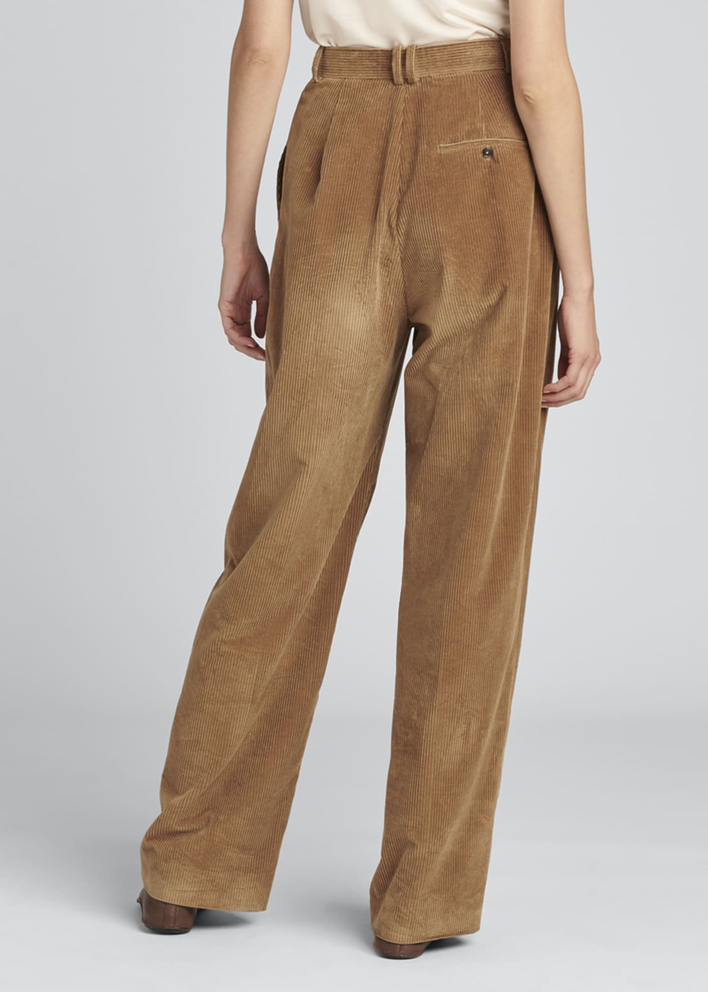 Image 2 of 4: Chandler Wide-Leg Pleated Corduroy Pants