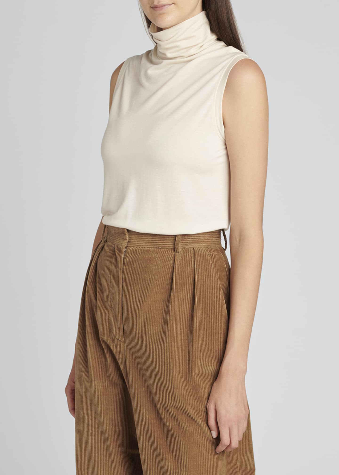 Image 3 of 4: Chandler Wide-Leg Pleated Corduroy Pants