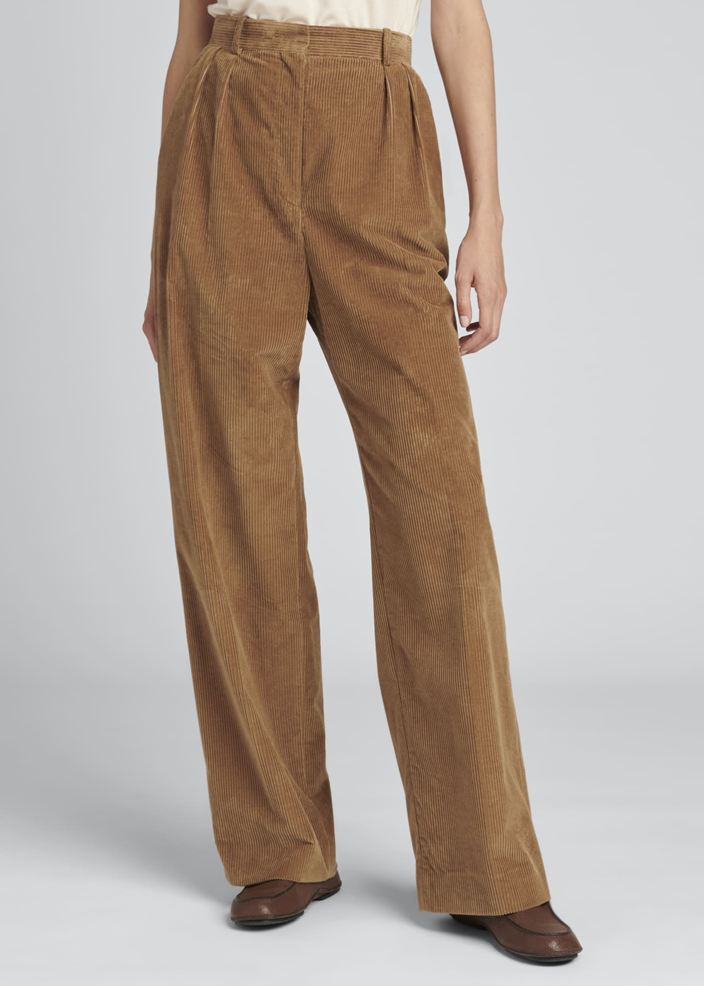 Image 4 of 4: Chandler Wide-Leg Pleated Corduroy Pants
