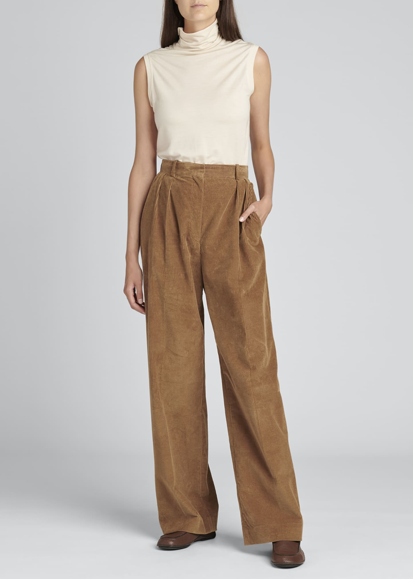 Image 1 of 4: Chandler Wide-Leg Pleated Corduroy Pants