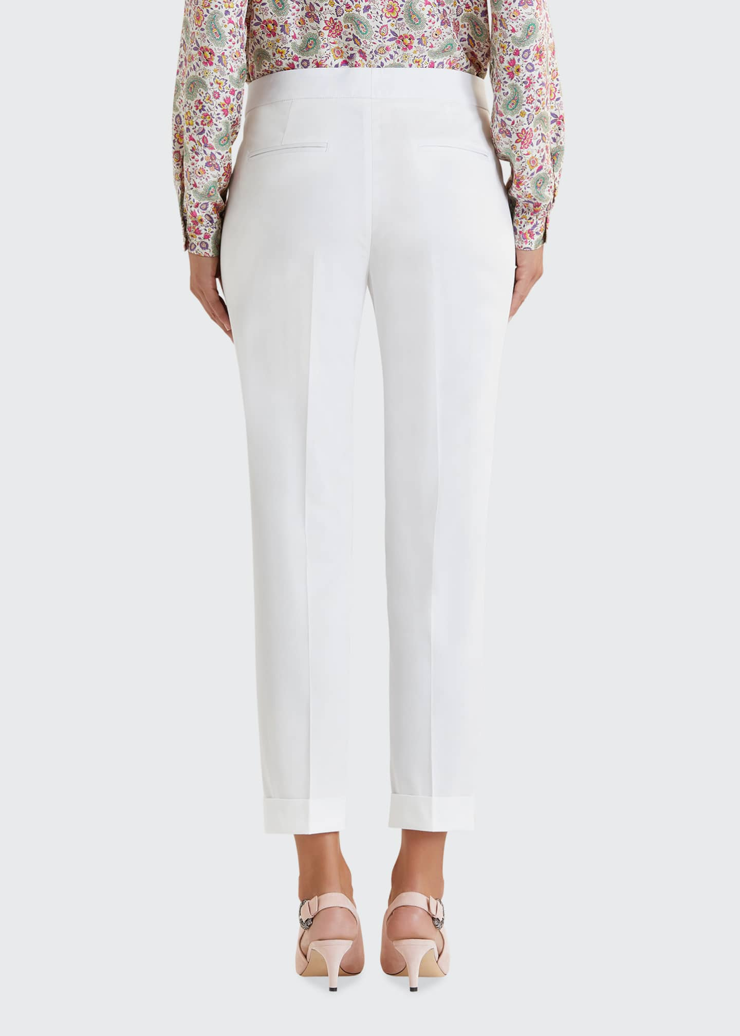 Image 2 of 5: Stretch Cotton Cuffed Solid Capri Pants