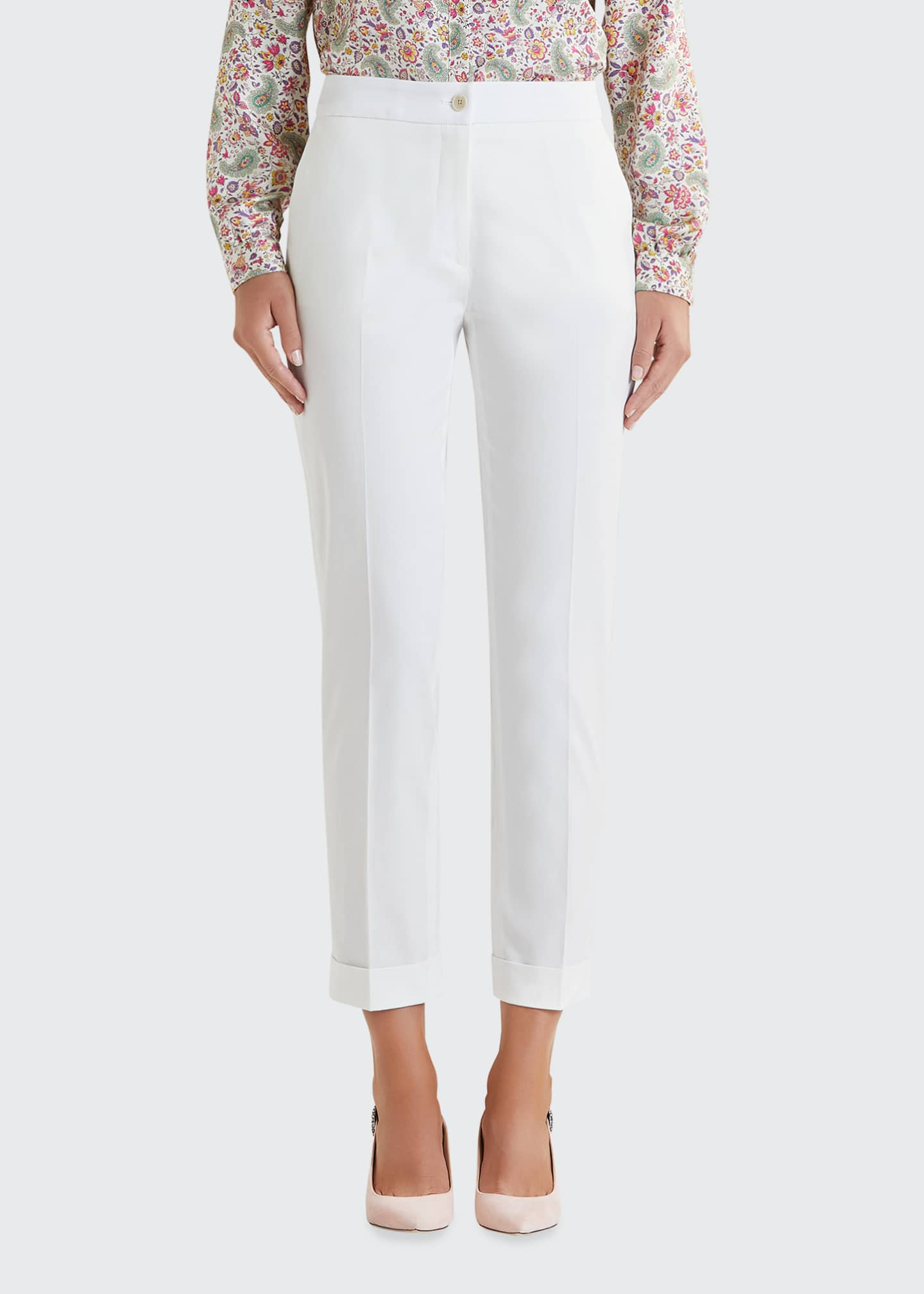 Image 3 of 5: Stretch Cotton Cuffed Solid Capri Pants