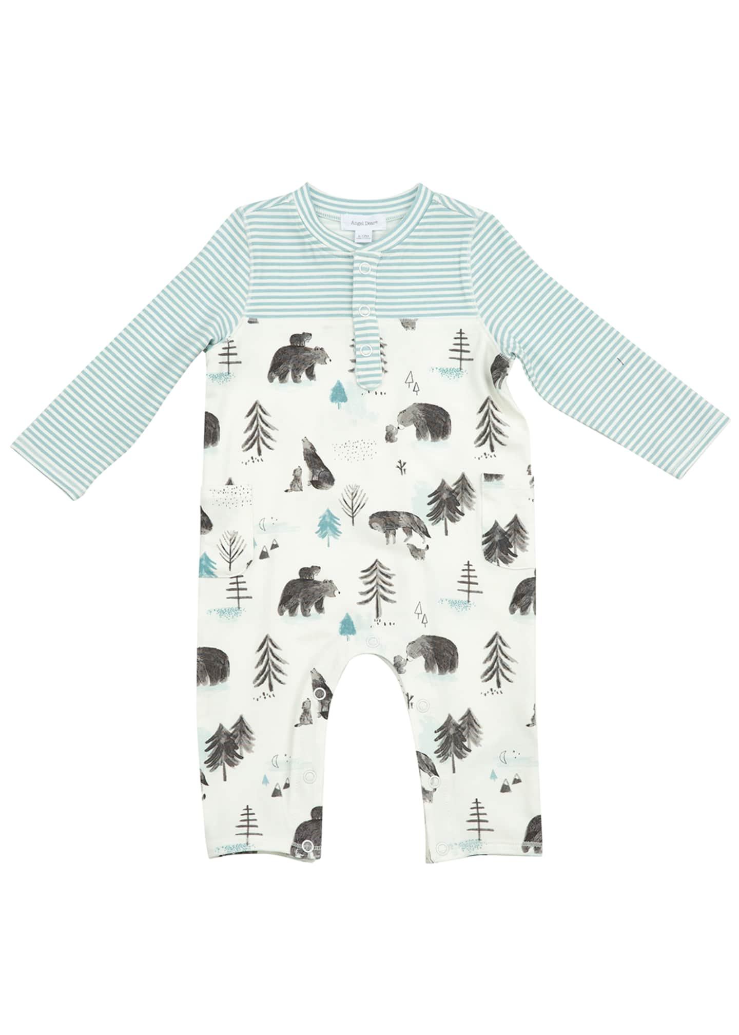 Image 1 of 2: Boy's Mixed Mama & Cub Printed Coverall, Size 0-12M