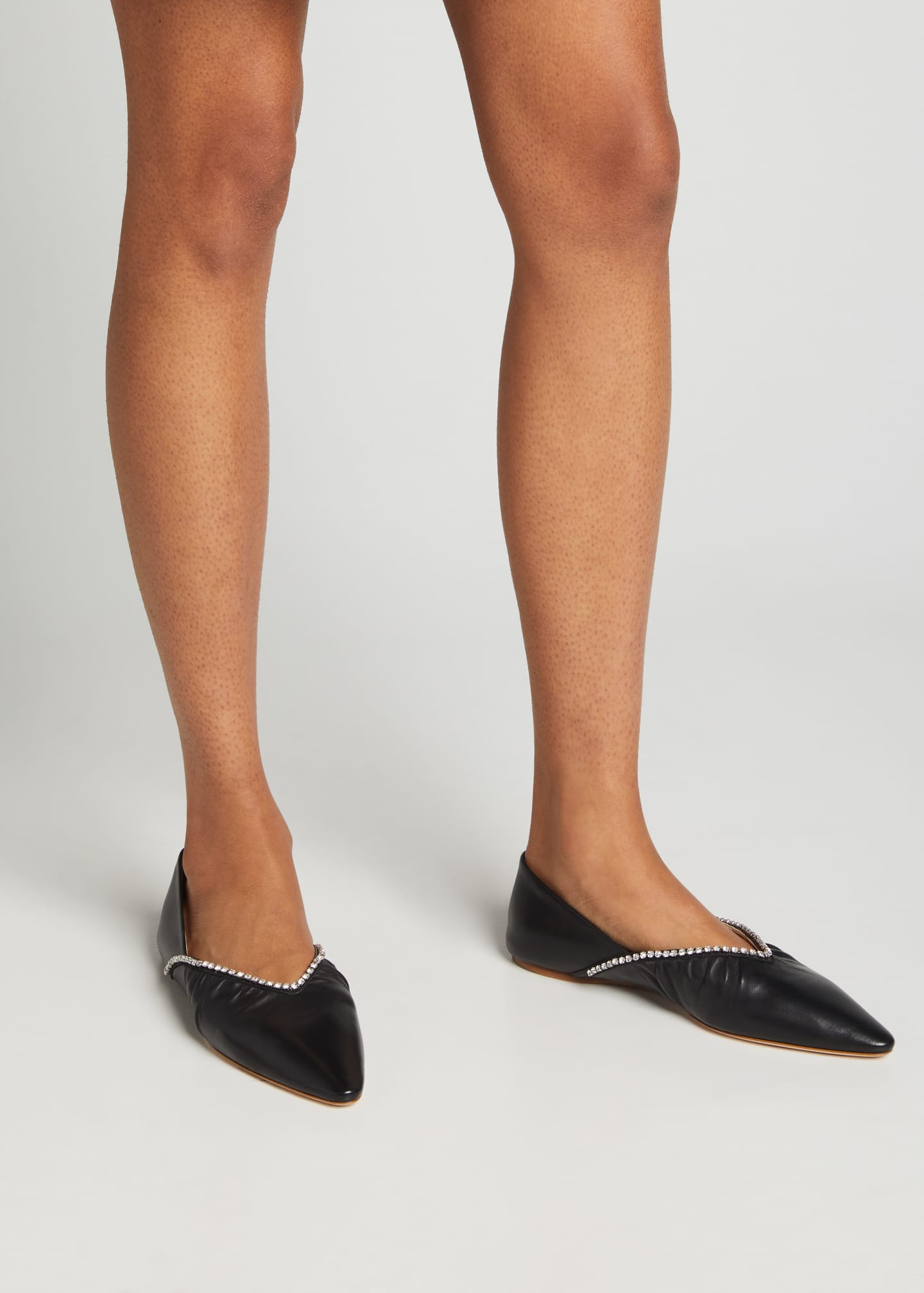 Image 2 of 5: Crystal Edge Leather Ballerina Flats