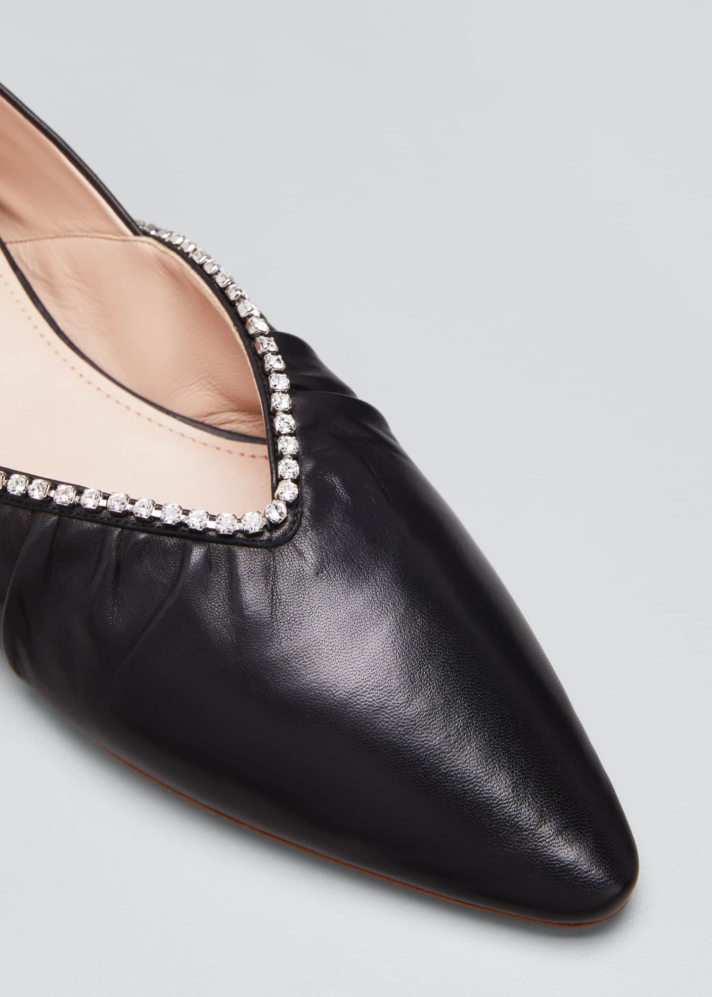 Image 5 of 5: Crystal Edge Leather Ballerina Flats