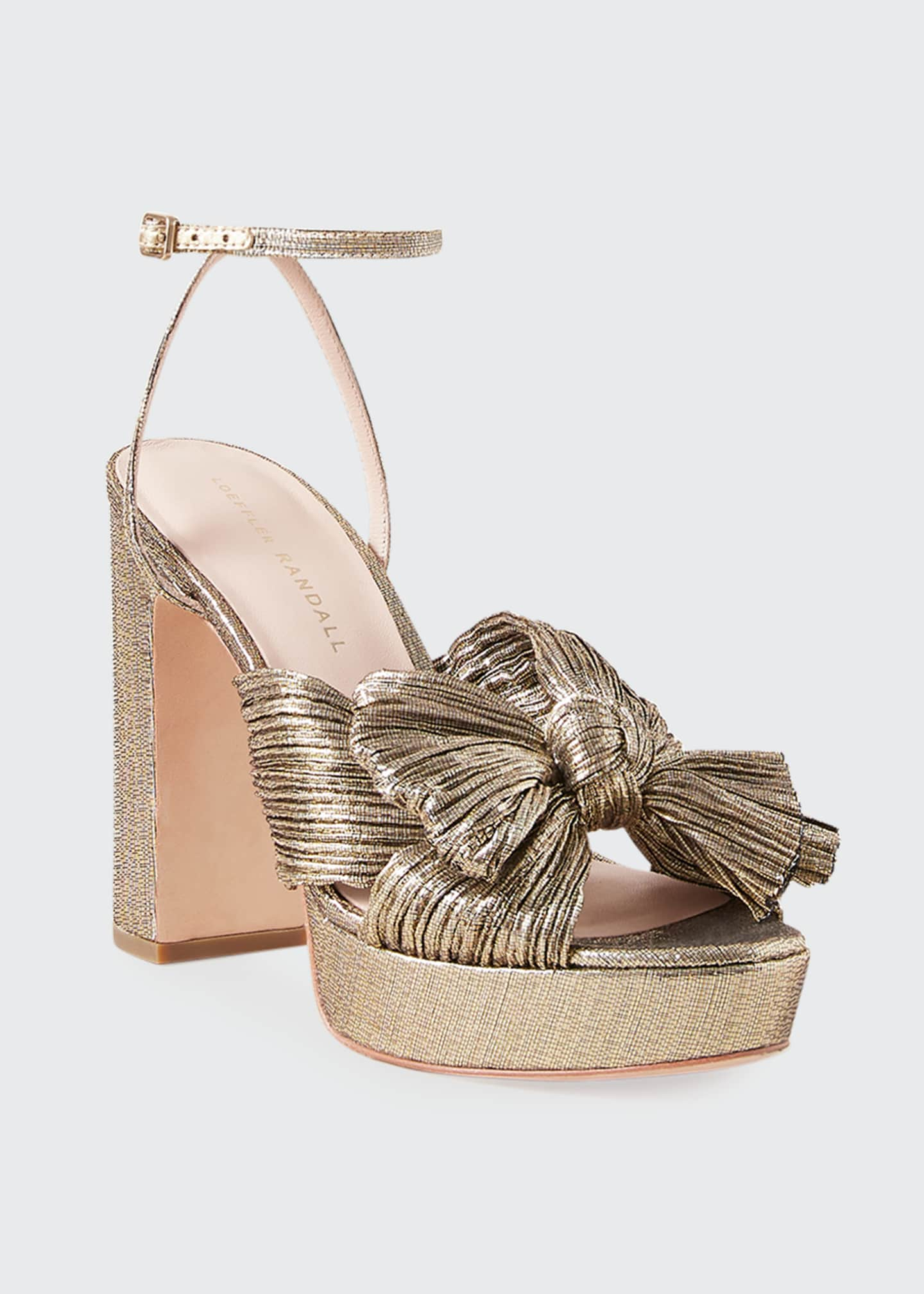 Image 2 of 2: Natalia Metallic Knot Platform Sandals