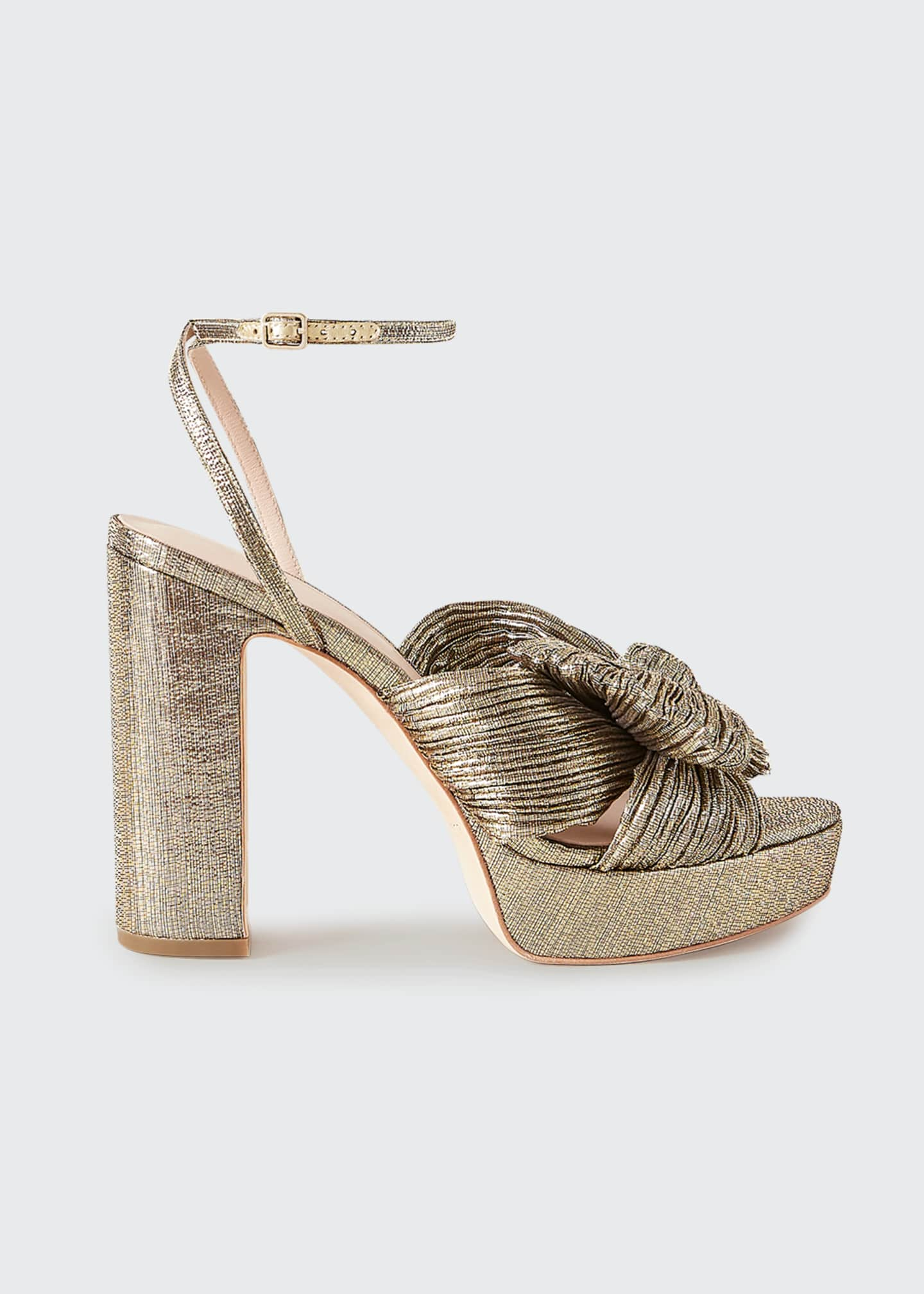 Image 1 of 2: Natalia Metallic Knot Platform Sandals